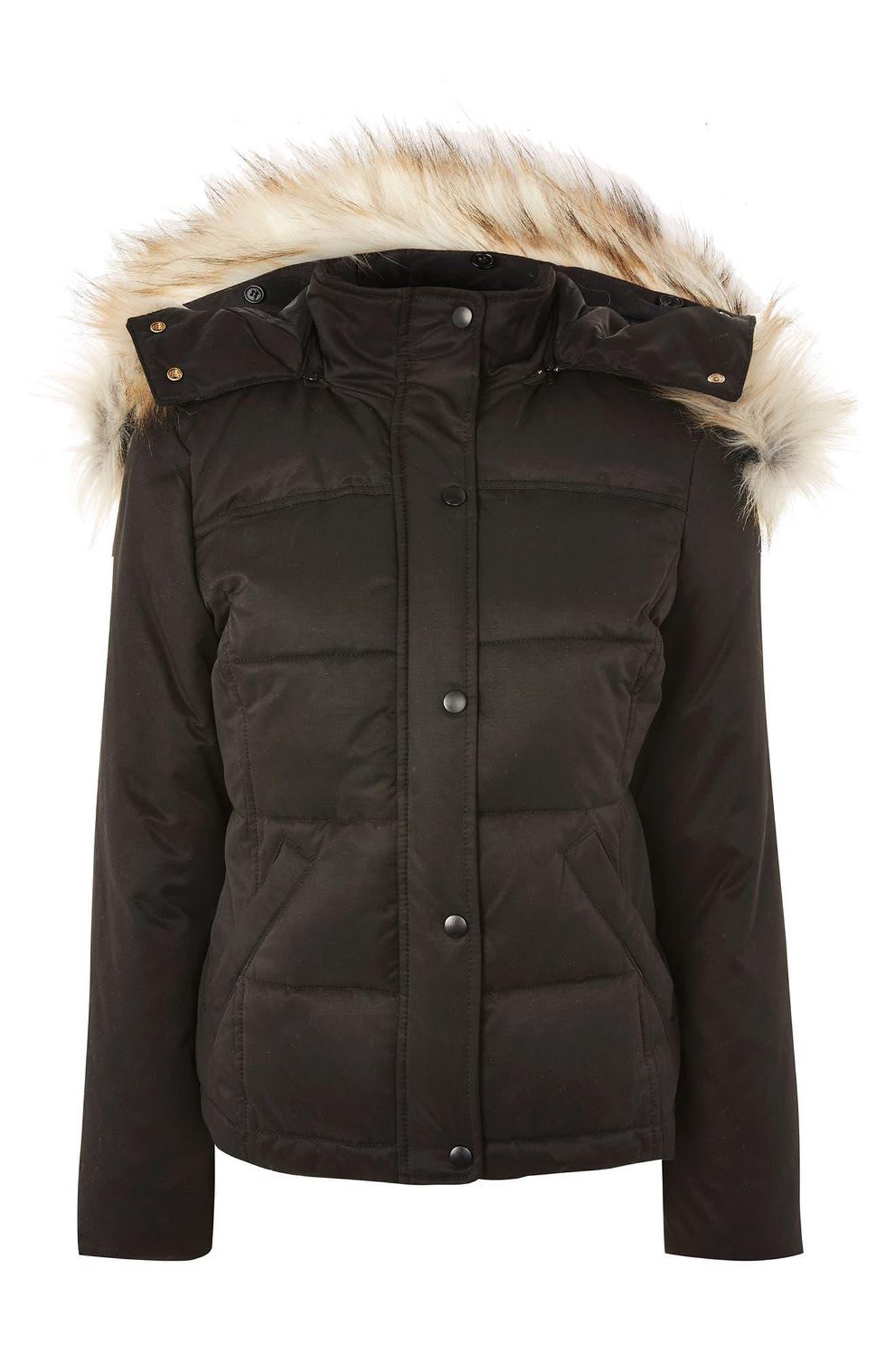 Alternate Image 6  - Topshop Jerry Faux Fur Trim Puffer Jacket