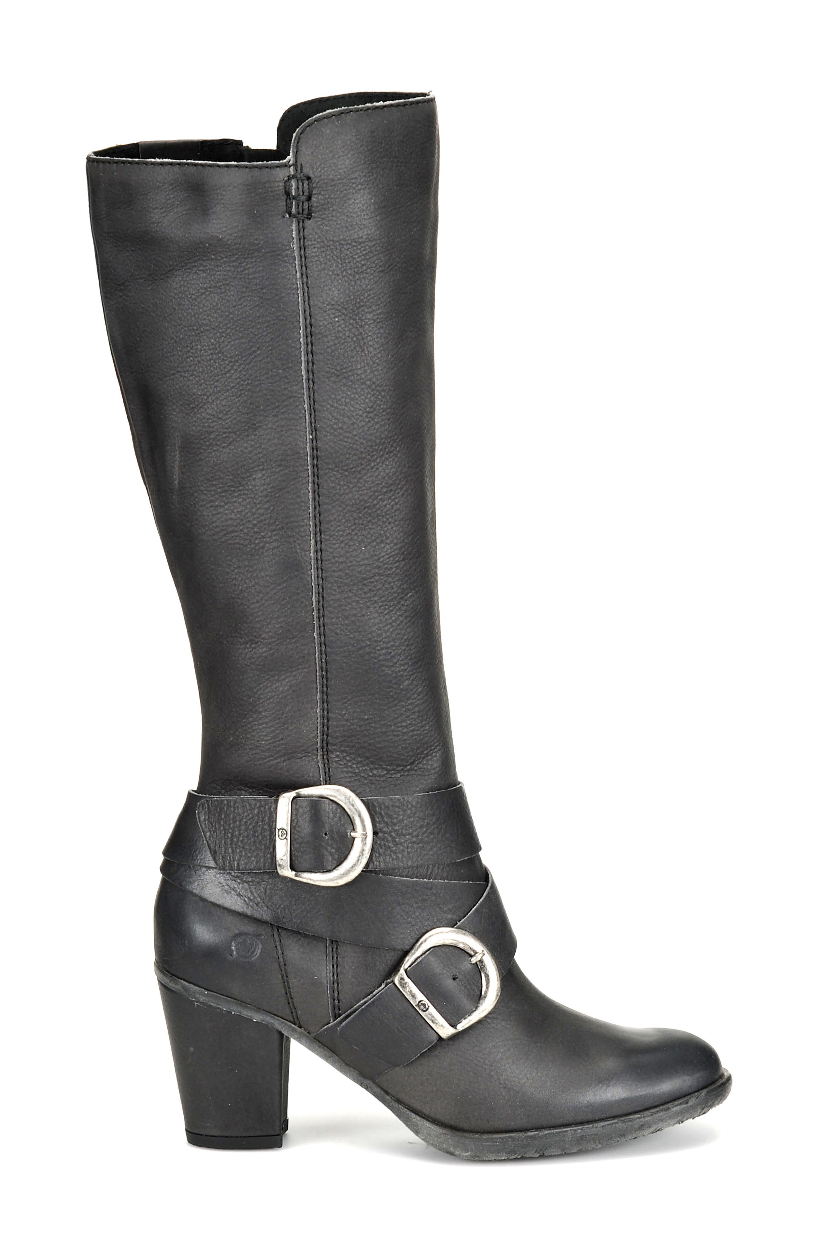 Cresent Knee High Boot,                             Alternate thumbnail 3, color,                             Dark Grey Leather