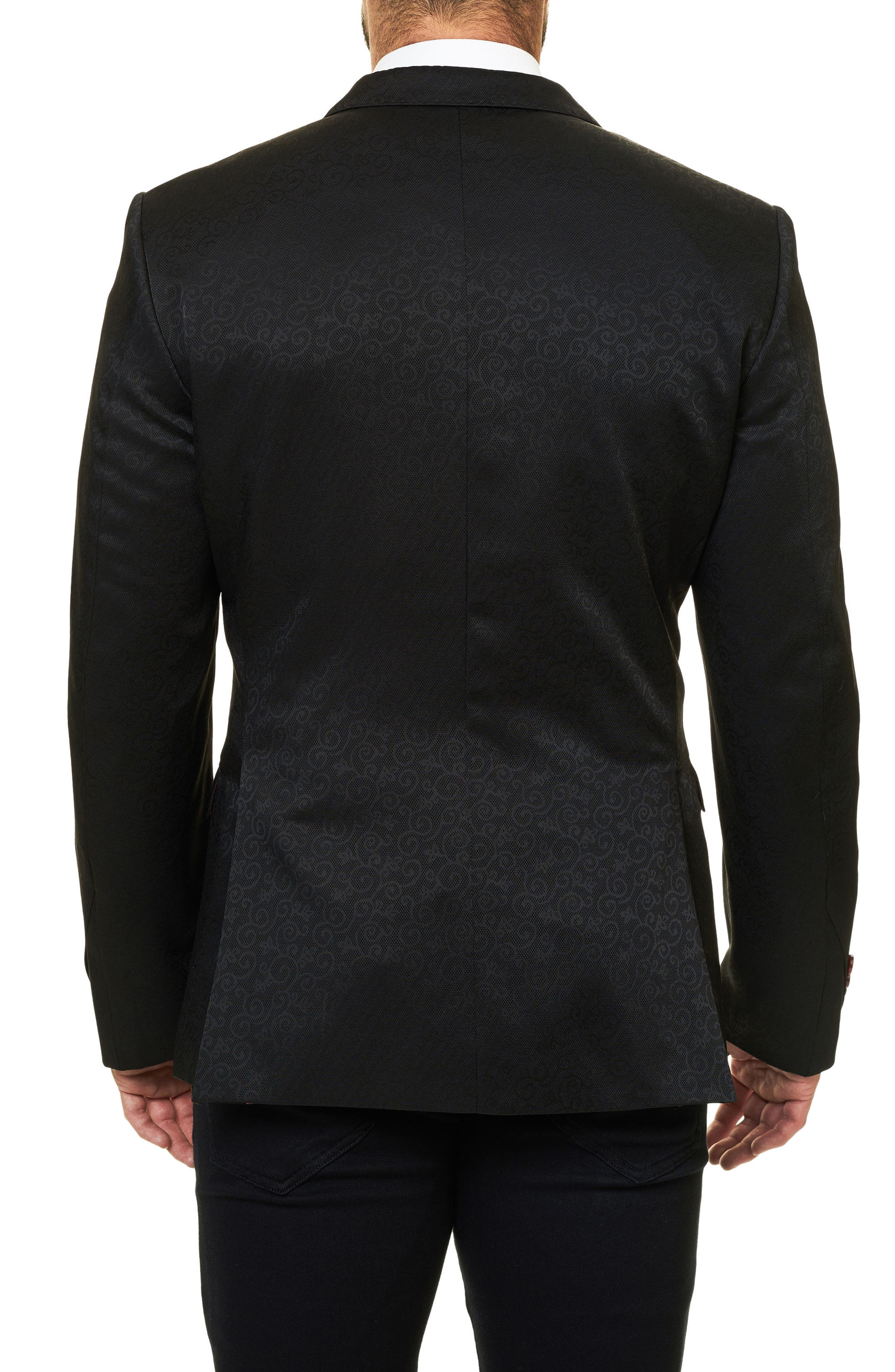 Descartes Jacquard Sport Coat,                             Alternate thumbnail 2, color,                             Solid Black