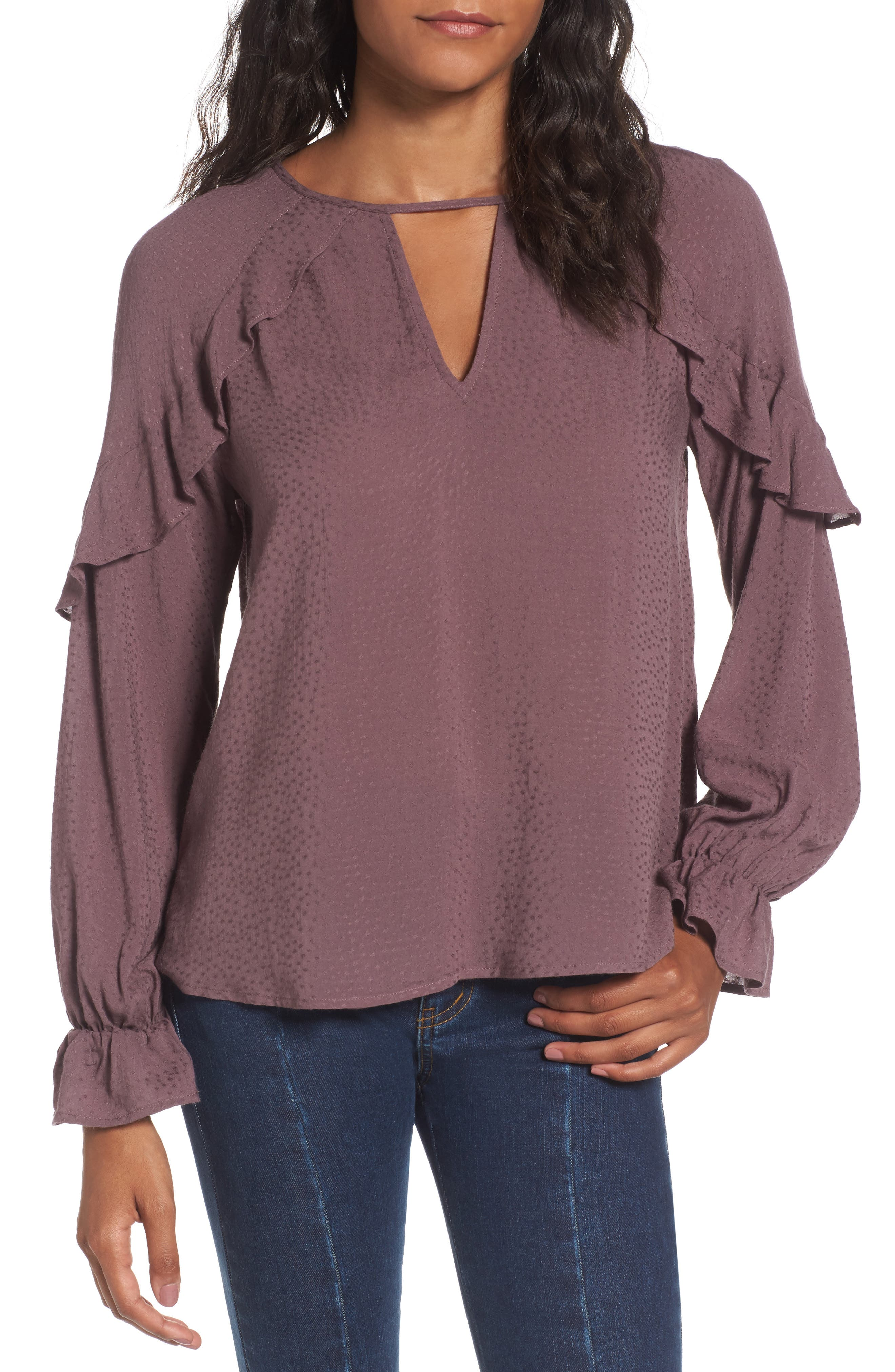 Textured Ruffle Blouse,                         Main,                         color, Peppercorn