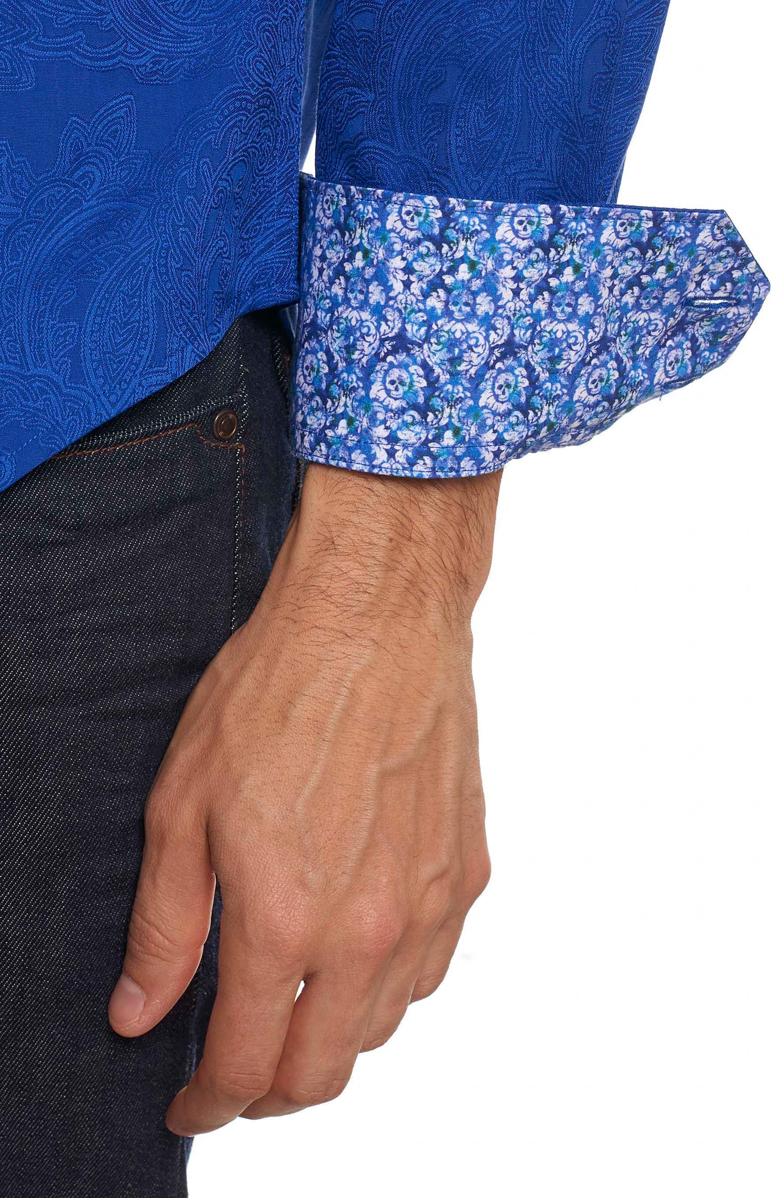 Rosendale Classic Fit Jacquard Sport Shirt,                             Alternate thumbnail 5, color,                             Cobalt