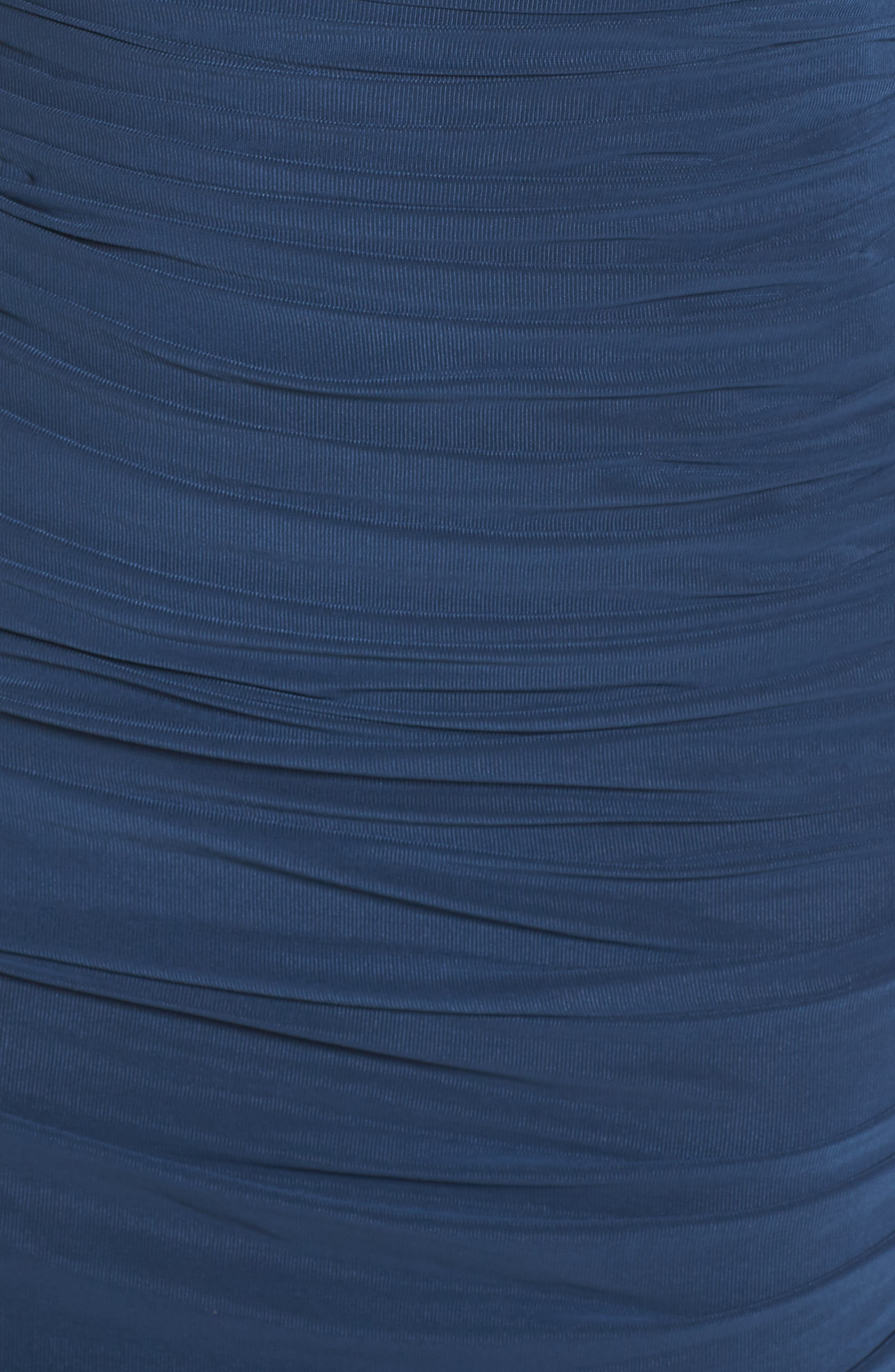Embellished Mesh Ruched Jersey Gown,                             Alternate thumbnail 5, color,                             Navy