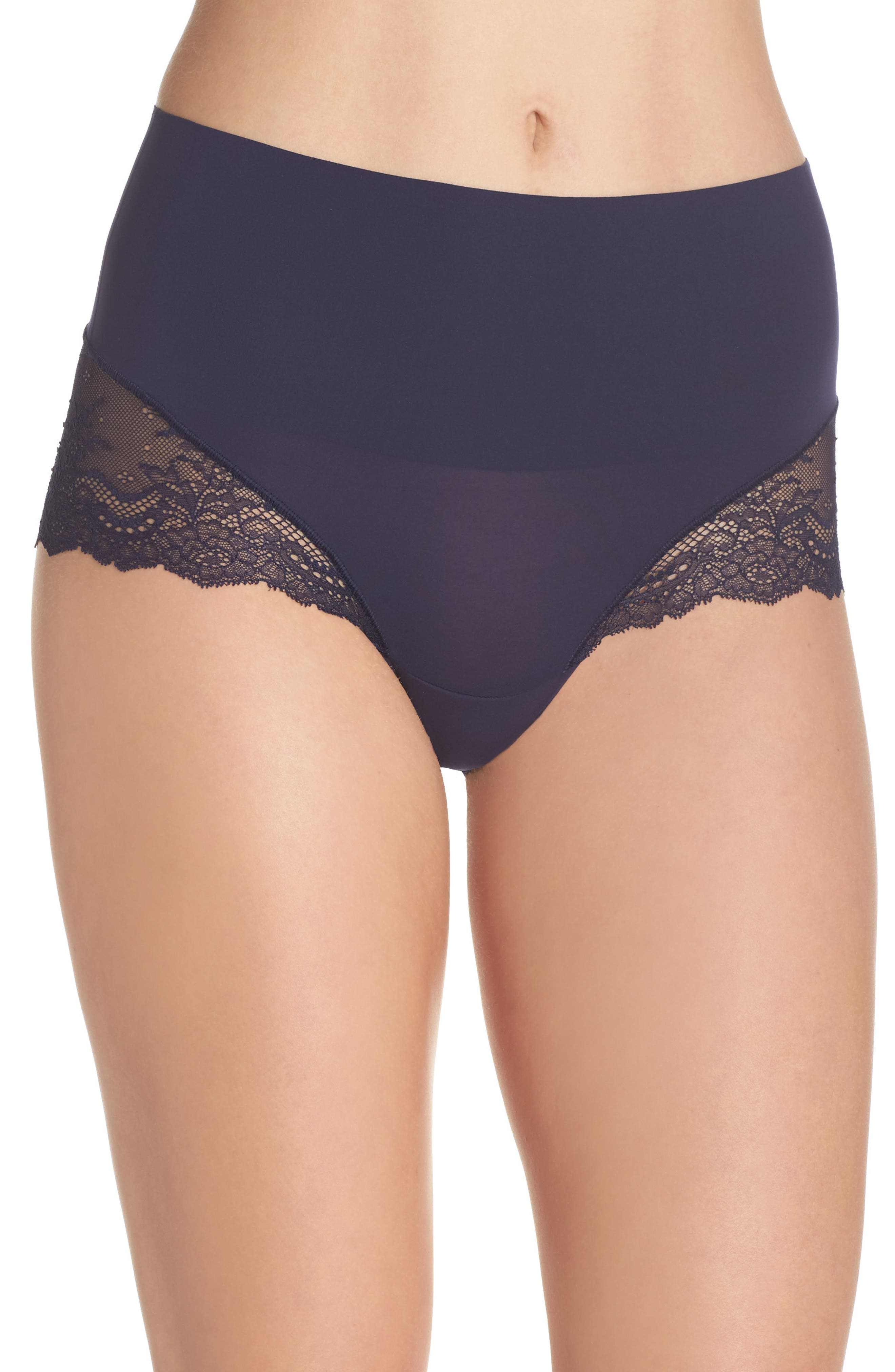 Undie-tectable Lace Hipster Panties,                         Main,                         color, Midnight Navy