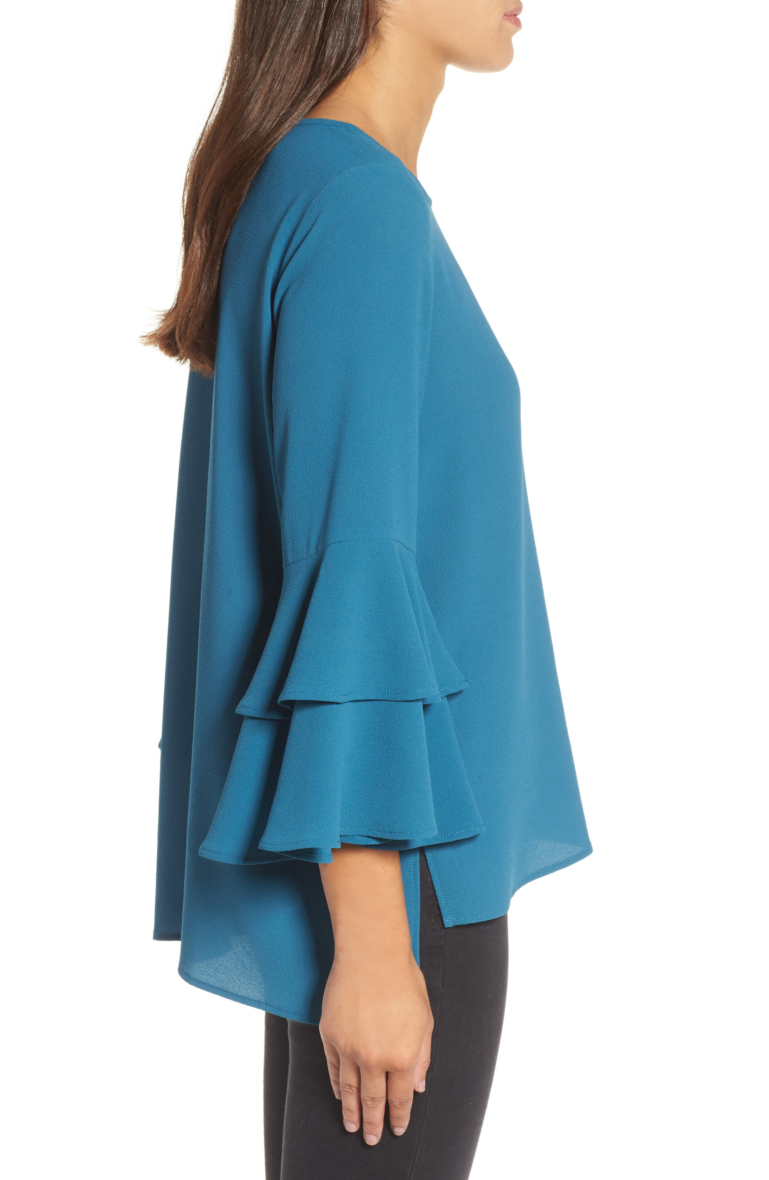 Ruffle Bell Sleeve High/Low Tunic,                             Alternate thumbnail 3, color,                             Peacock Teal