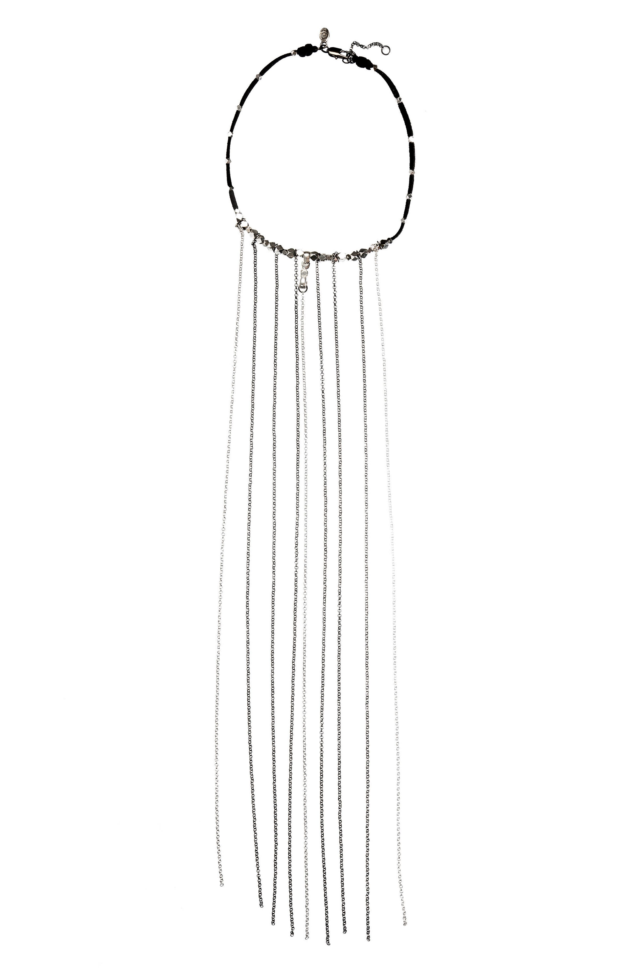 Spike Fringe Choker,                         Main,                         color, Silver/ Gunmetal