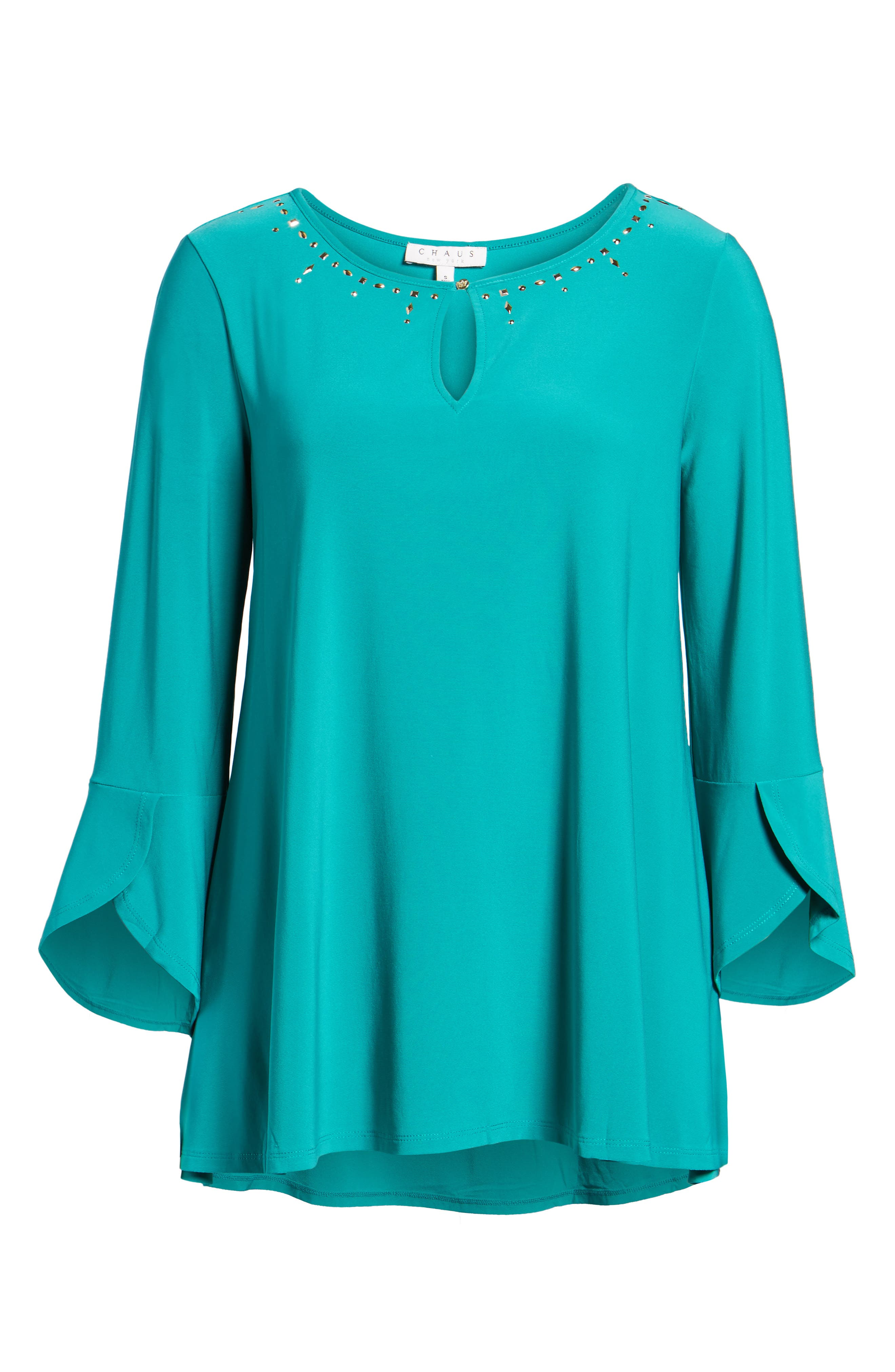 Bell Sleeve Keyhole Top,                             Alternate thumbnail 6, color,                             Radiant Teal