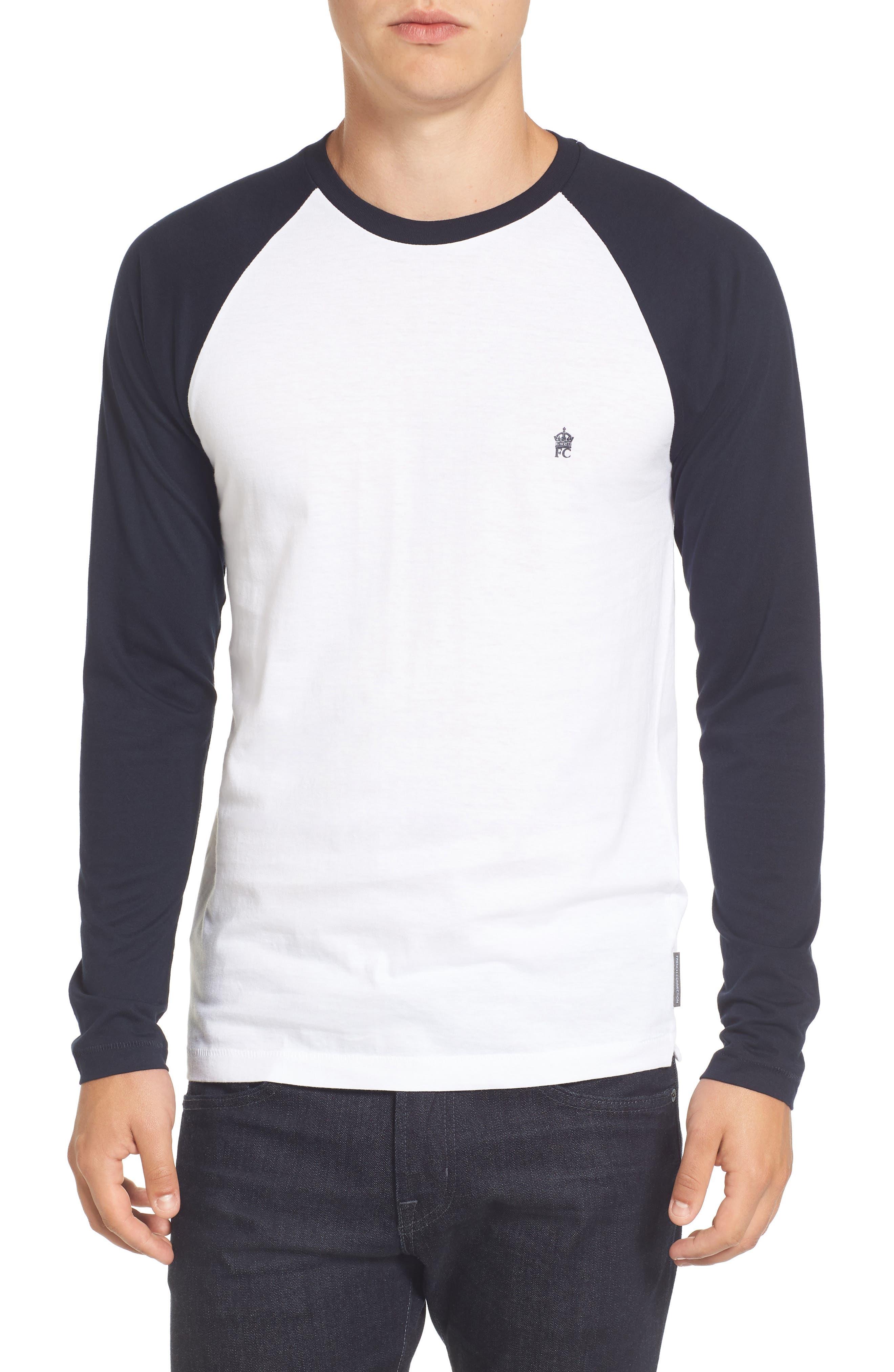 Slim Fit Long Sleeve Raglan T-Shirt,                         Main,                         color, White/ Marine