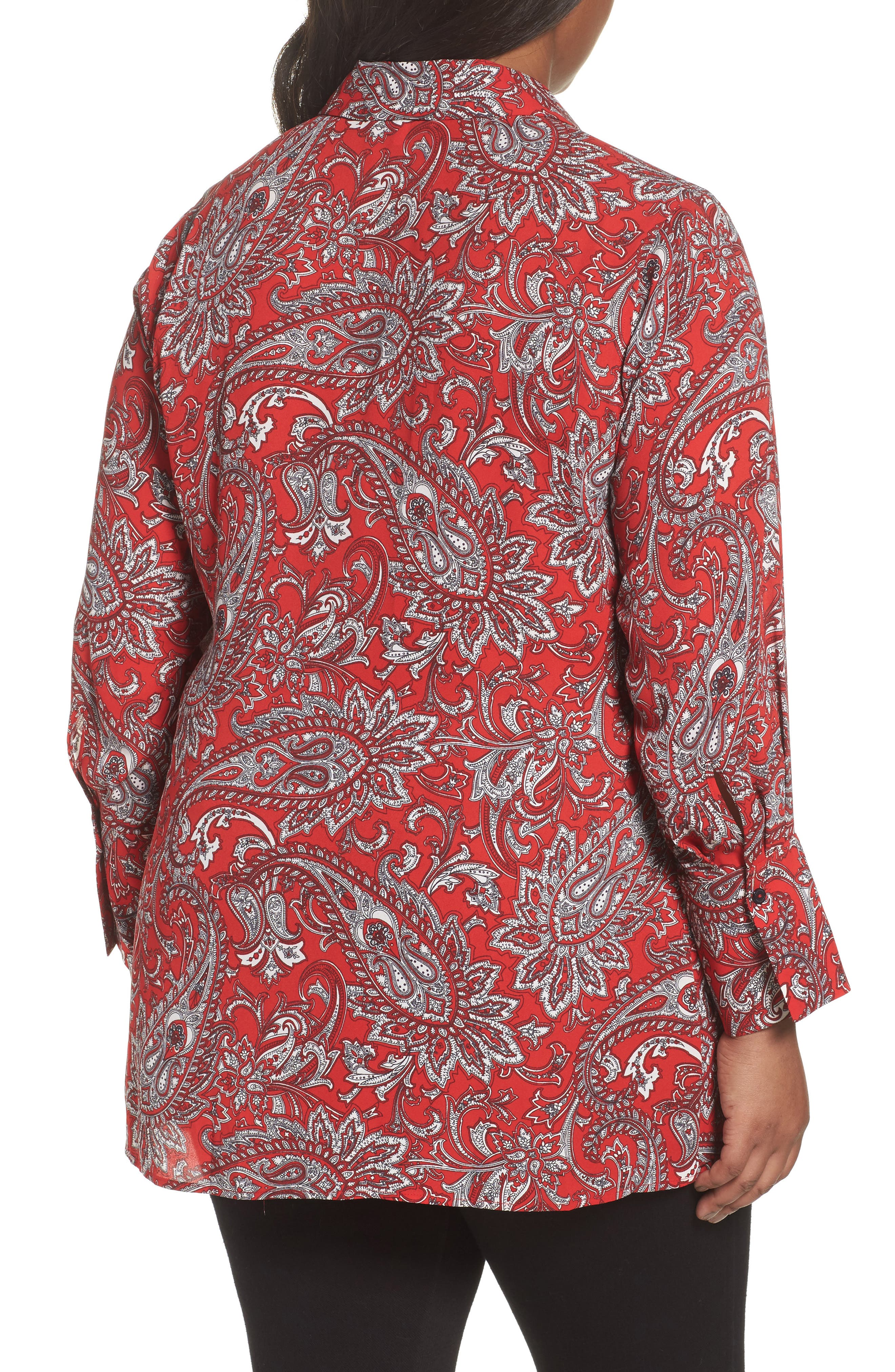 Serena Romantic Paisley Knotted Crepe Tunic Blouse,                             Alternate thumbnail 2, color,                             Red Multi