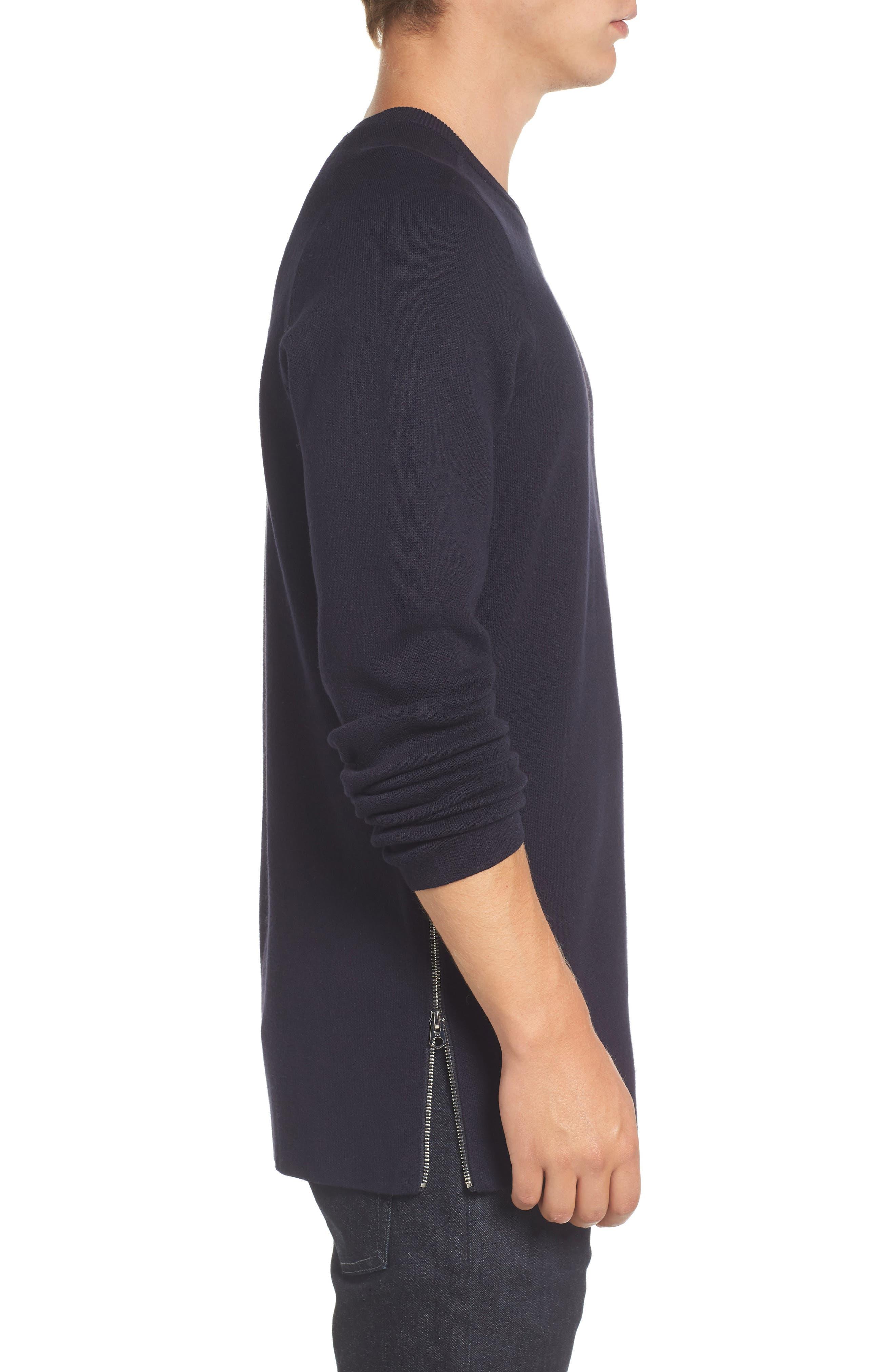 Lakra Side Zip Sweater,                             Alternate thumbnail 3, color,                             Marine Blue