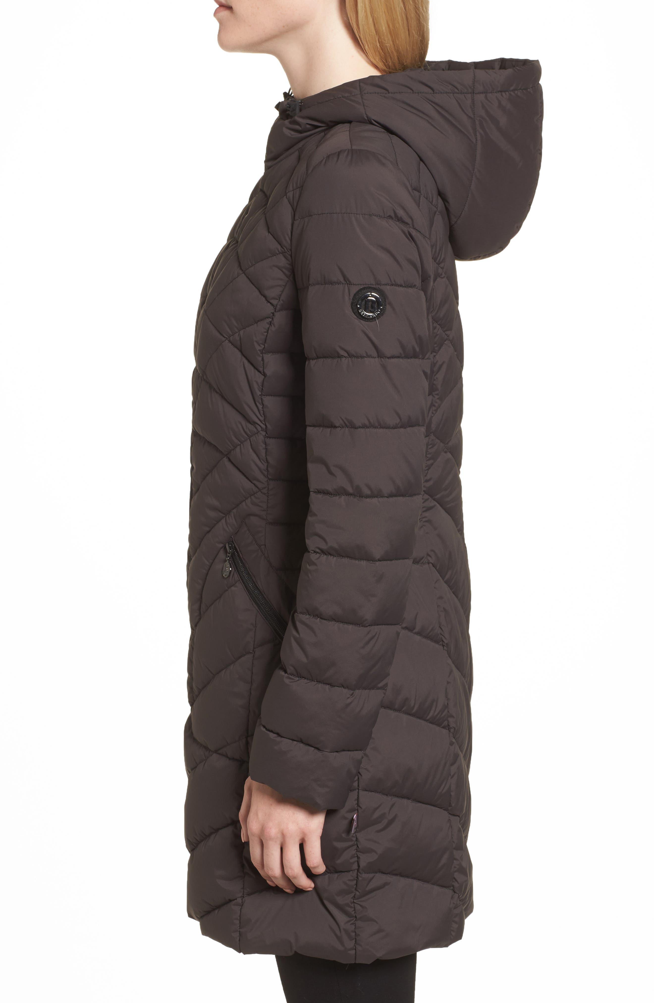 Packable Hooded Down & PrimaLoft<sup>®</sup> Walker Jacket,                             Alternate thumbnail 3, color,                             Black