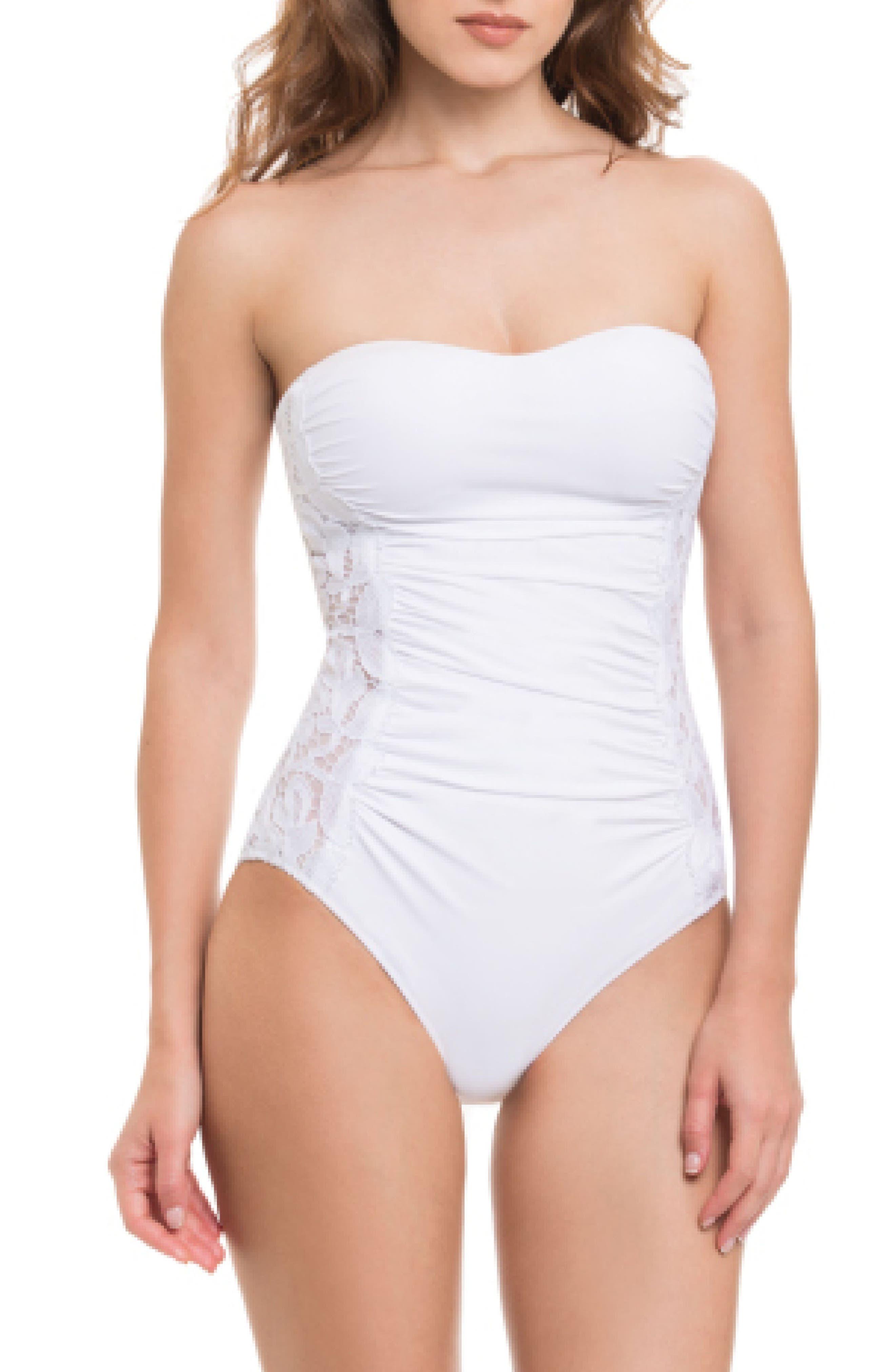 Allure Bandeau One-Piece Swimsuit,                         Main,                         color, White