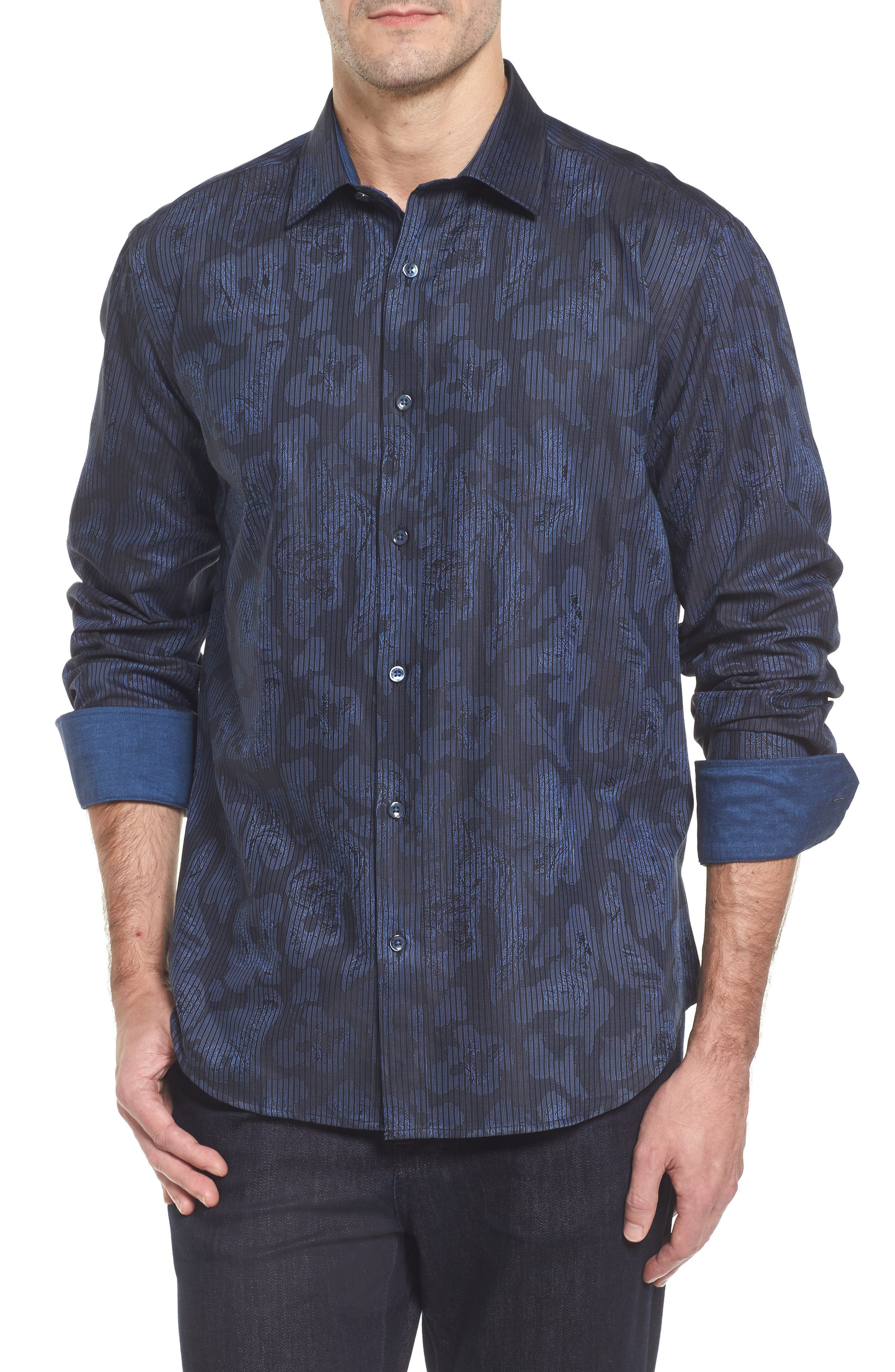 Alternate Image 1 Selected - Bugatchi Slim Fit Jacquard Stripe Sport Shirt