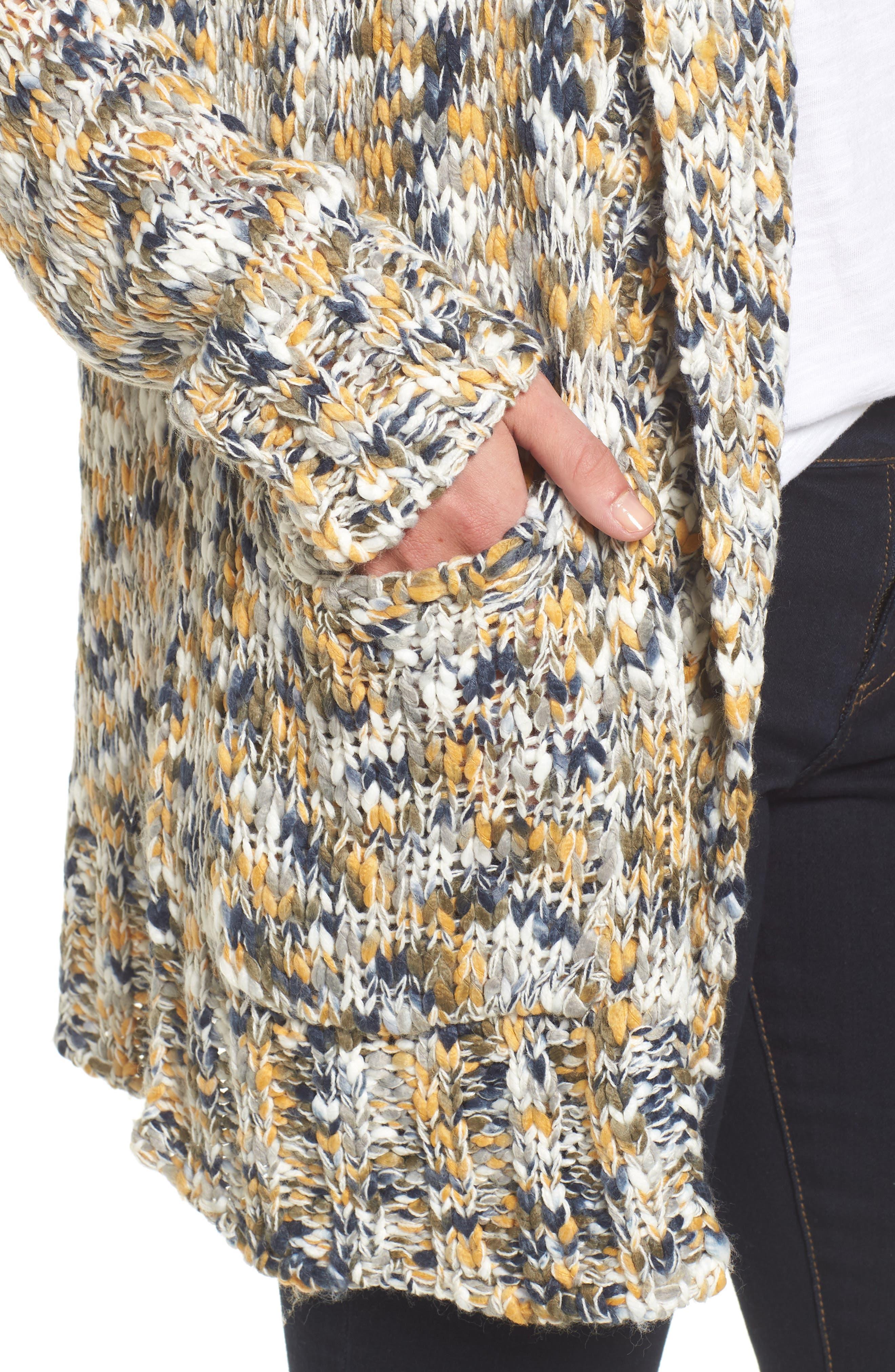 Confetti Knit Shawl Collar Sweater,                             Alternate thumbnail 3, color,                             Earth Mix