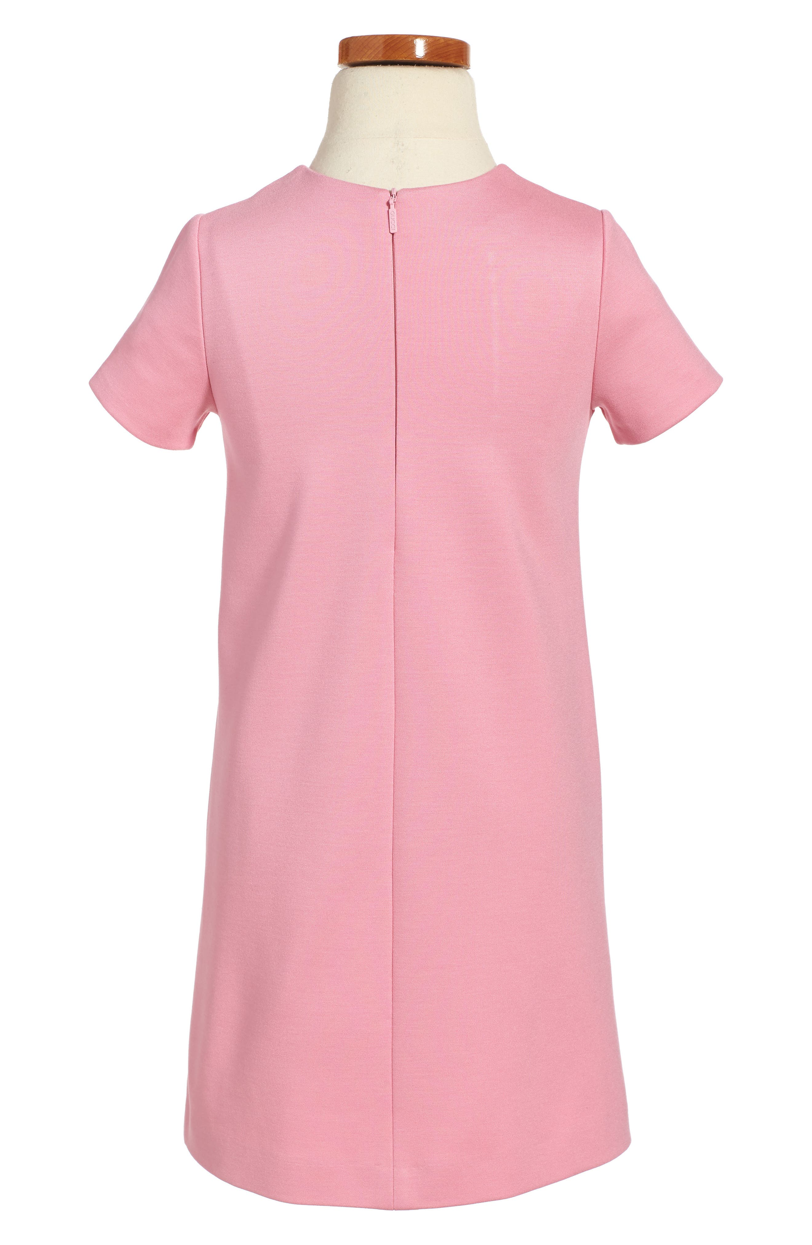 Ruffle Front Shift Dress,                             Alternate thumbnail 2, color,                             Sugar Pink