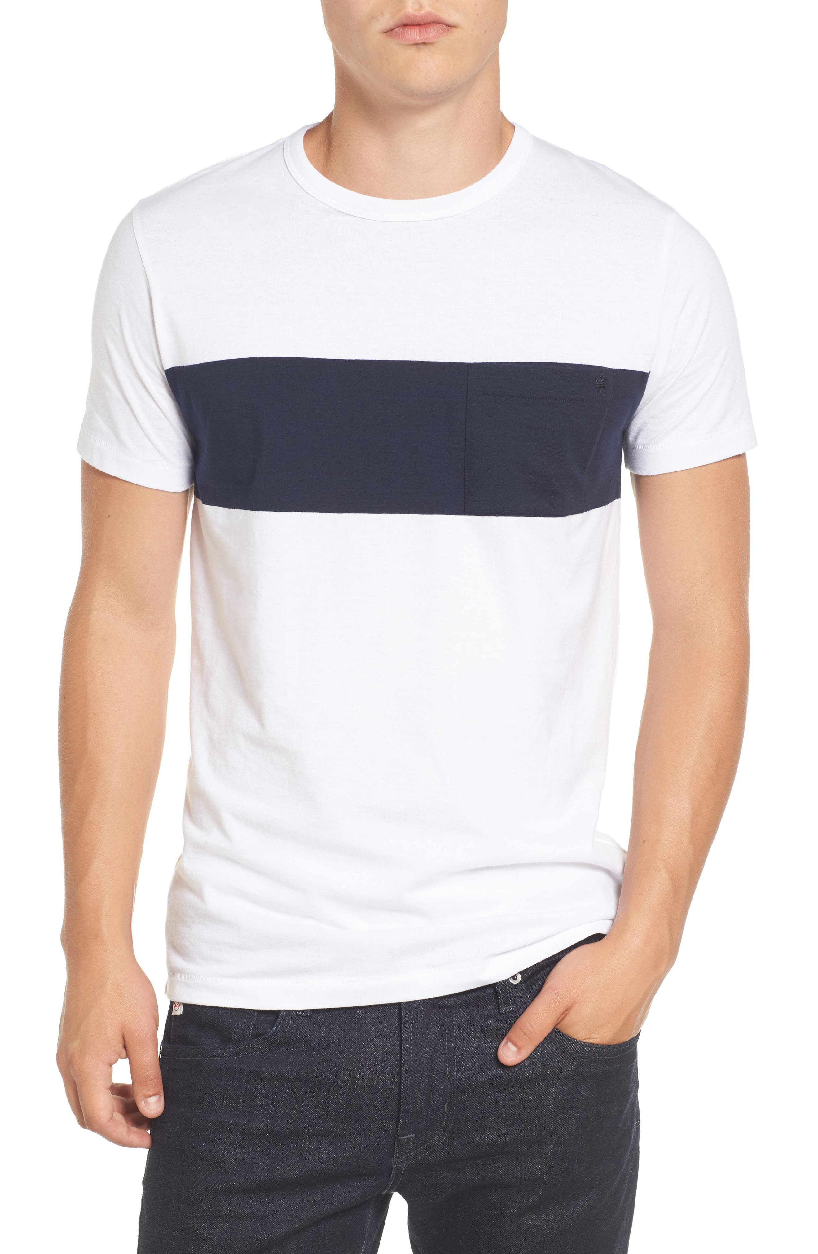 Colorblock Pocket T-Shirt,                         Main,                         color, White/ Marine