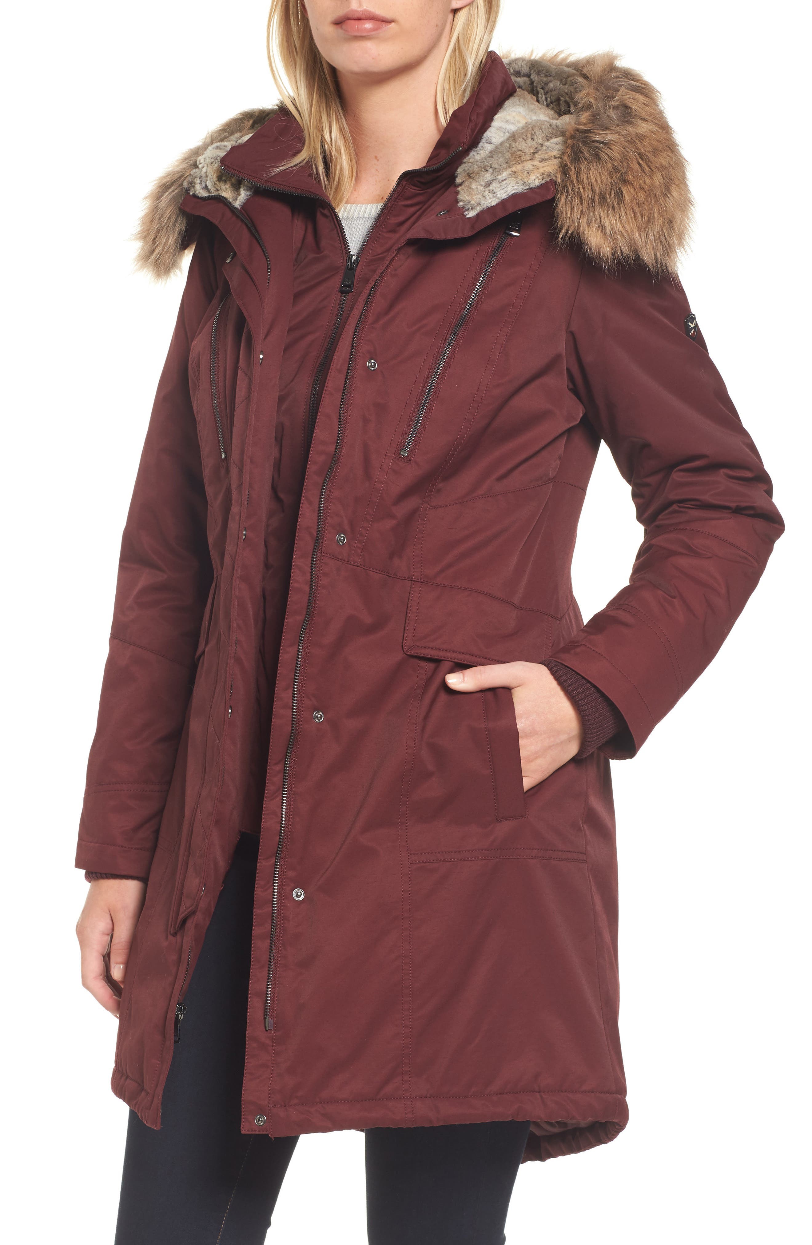 Alternate Image 1 Selected - 1 Madison Insulated Parka with Faux Fur Trim