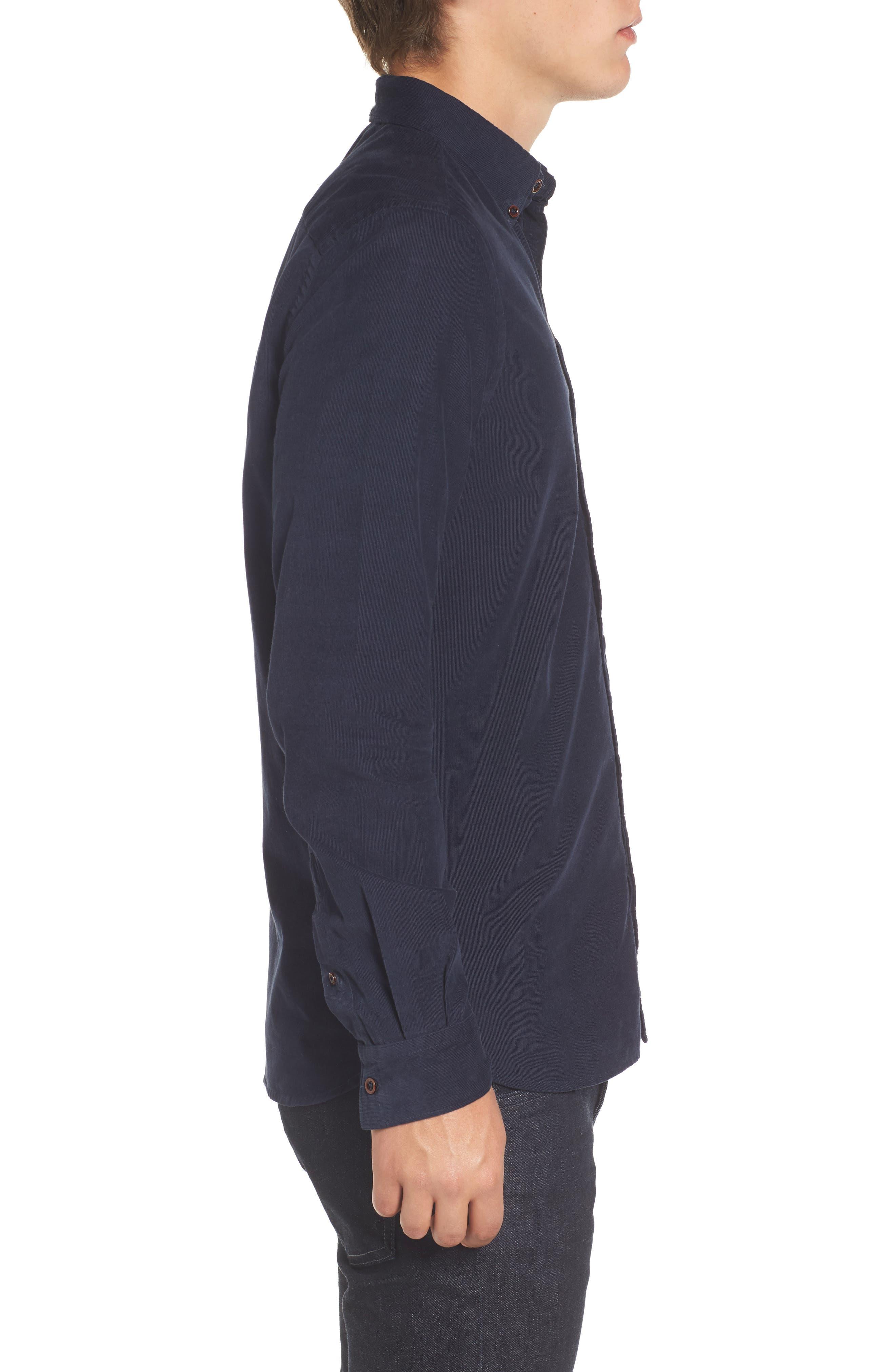 Corduroy Sport Shirt,                             Alternate thumbnail 3, color,                             Marine Blue