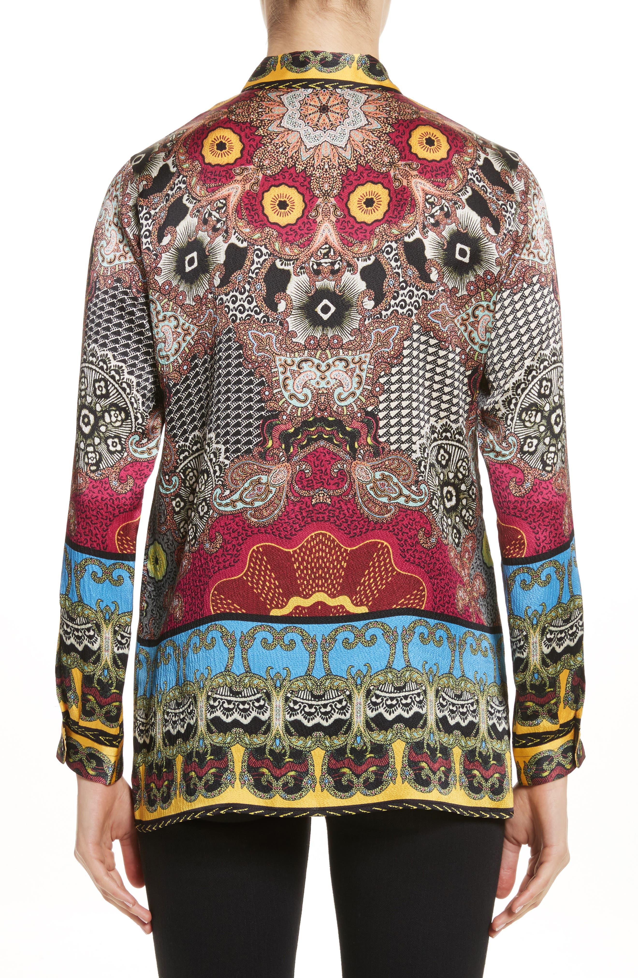 Print Hammered Silk Shirt,                             Alternate thumbnail 2, color,                             Multi