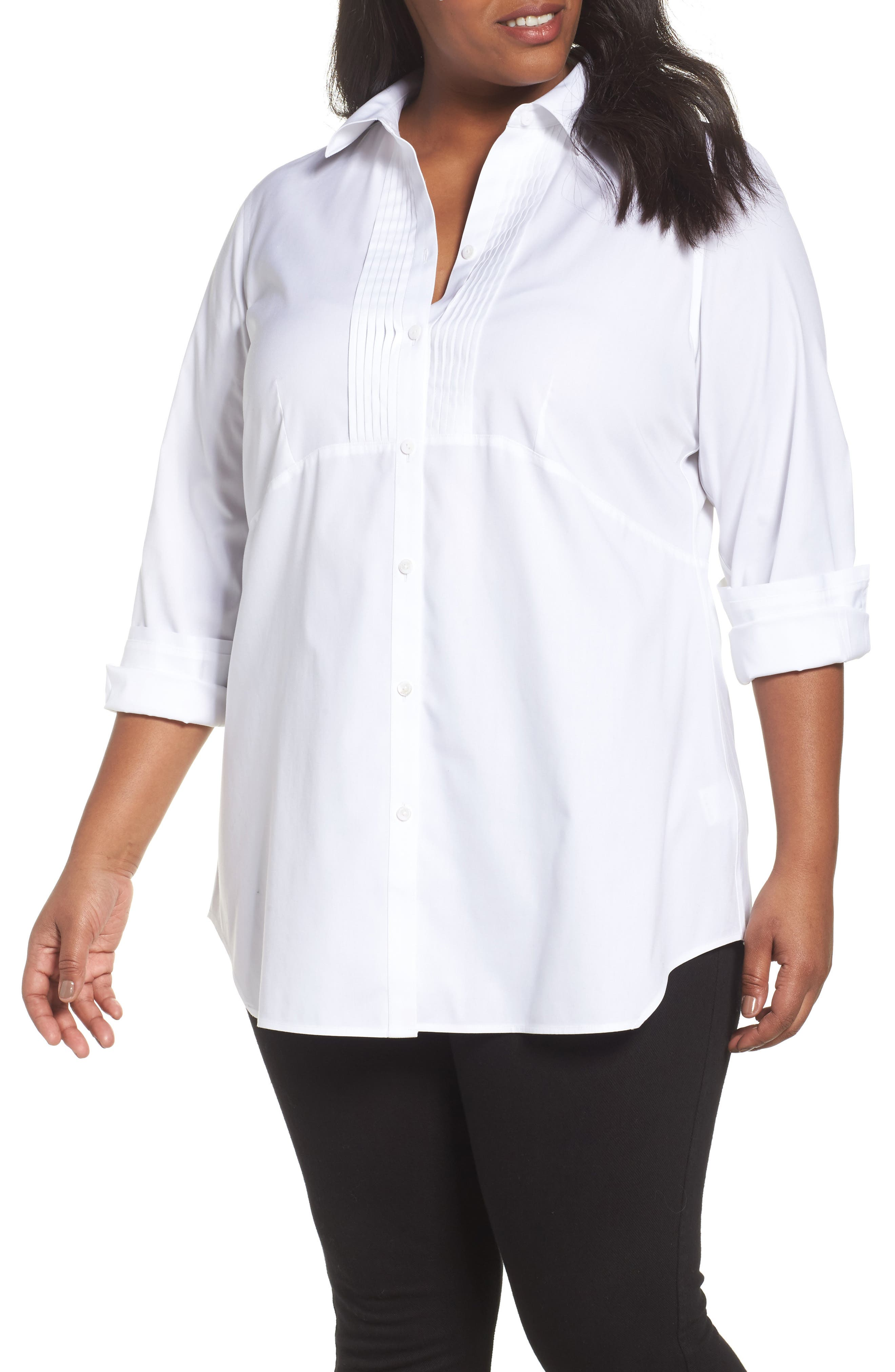 Main Image - Foxcroft Sheri Stretch Cotton Shirt (Plus Size)