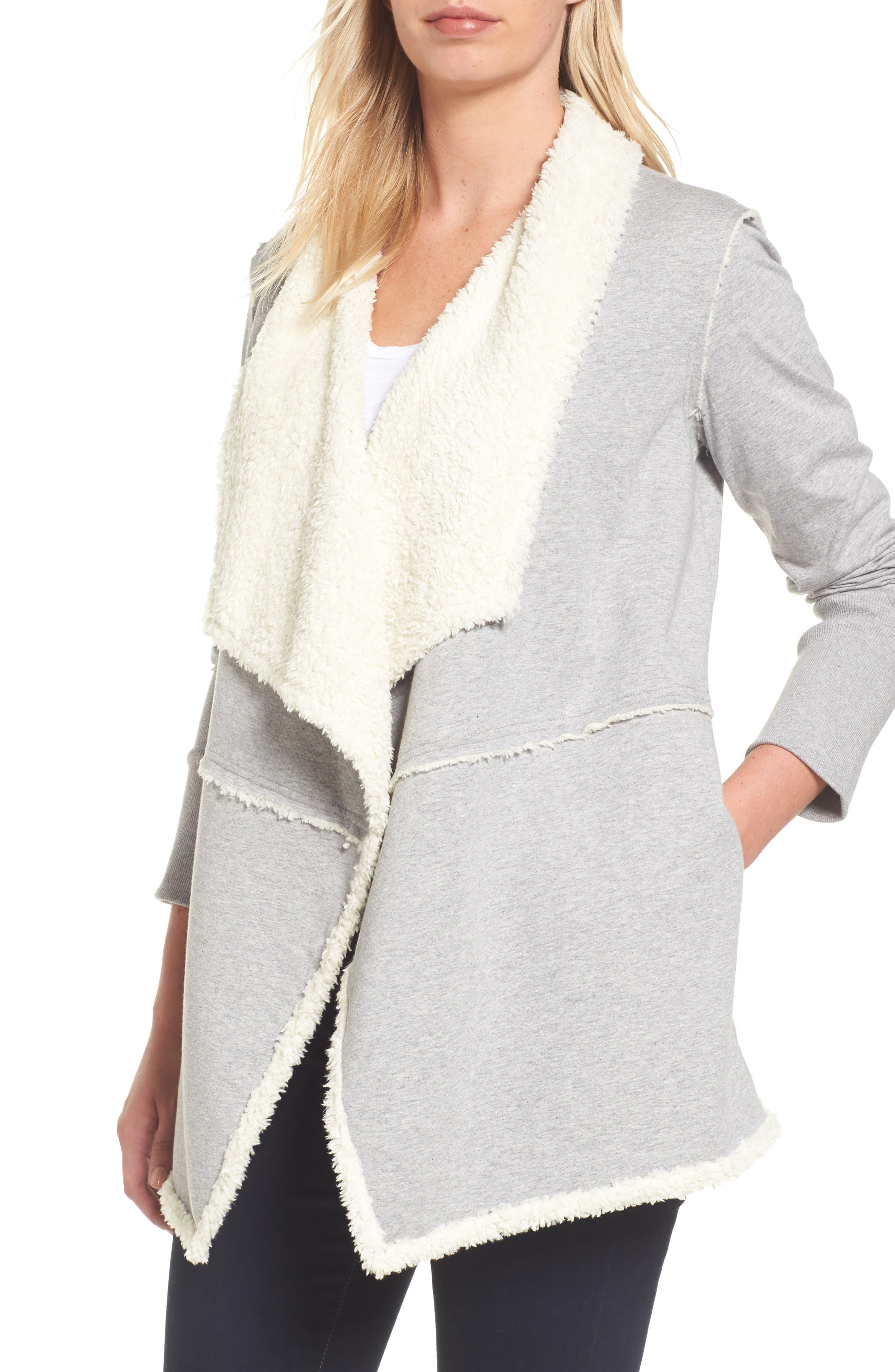 Caslon® Faux Fur Lined Knit Jacket