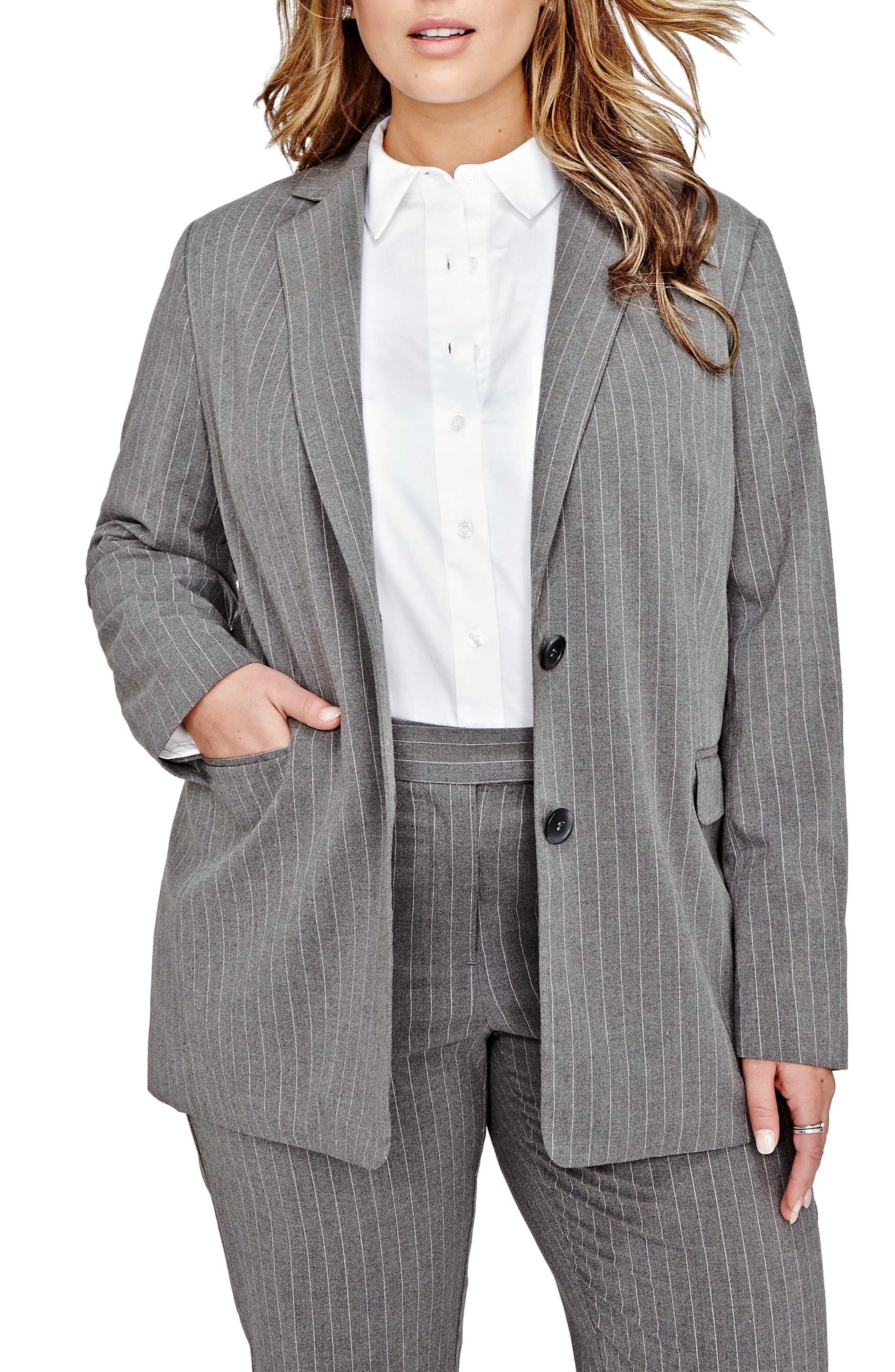 Pinstripe Boyfriend Jacket,                         Main,                         color, Medium Grey Mix Combo