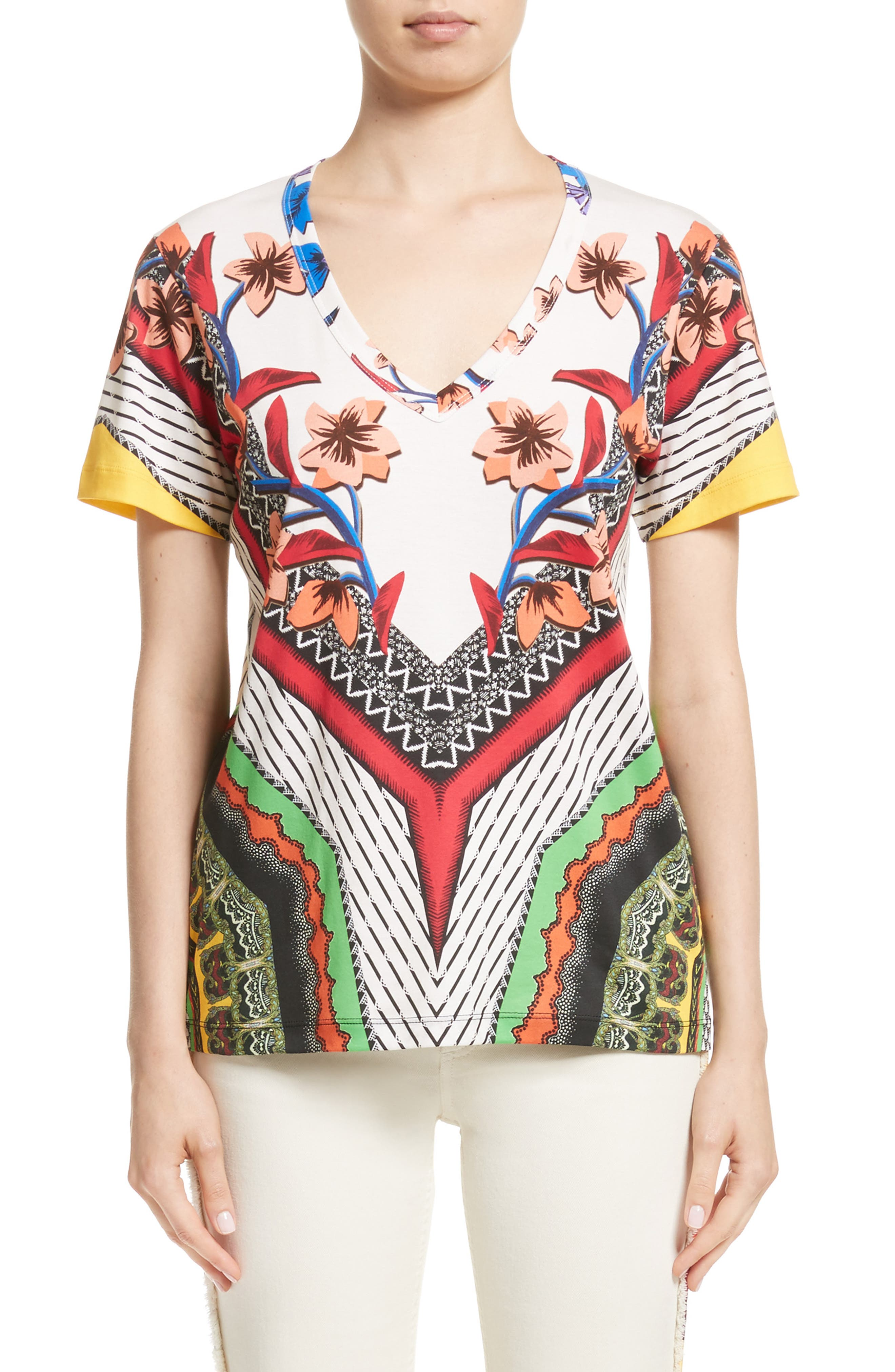 Floral Geo Print Tee,                             Main thumbnail 1, color,                             White