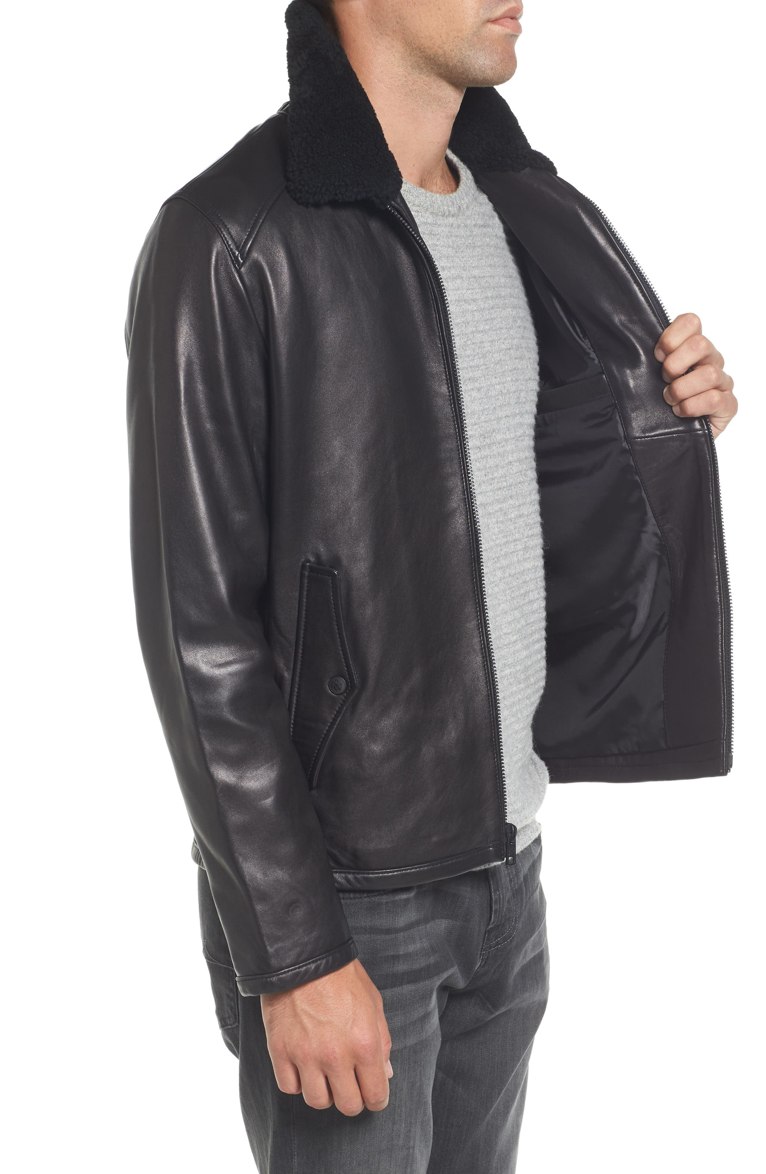 Genuine Shearling Leather Jacket,                             Alternate thumbnail 3, color,                             Black