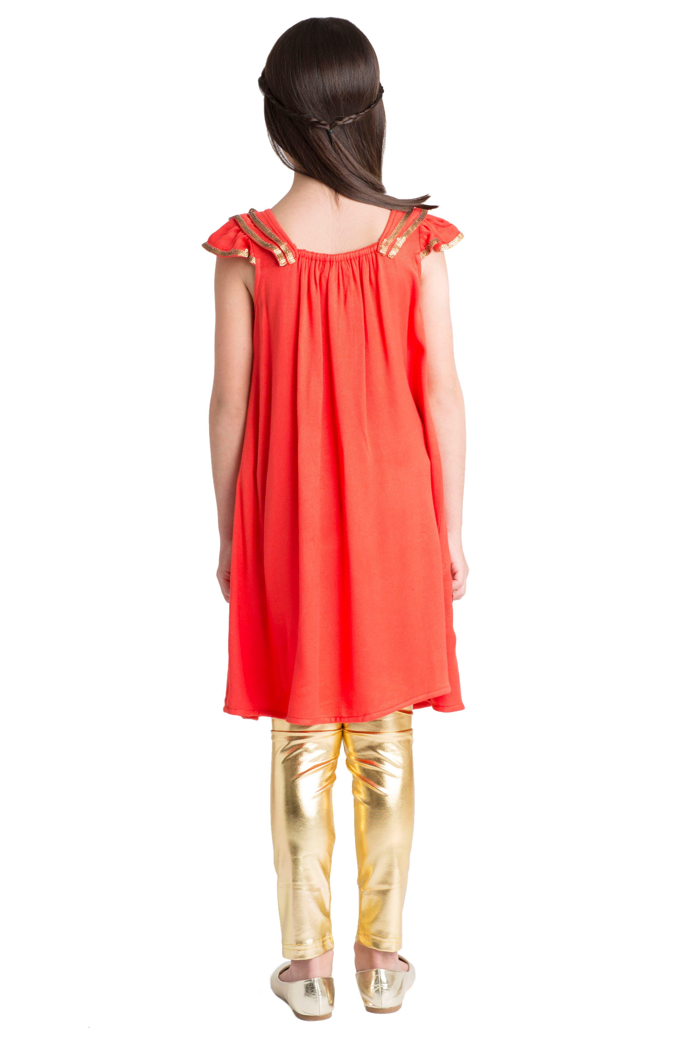 Dahlia Flutter Sleeve Dress,                             Alternate thumbnail 3, color,                             Coral