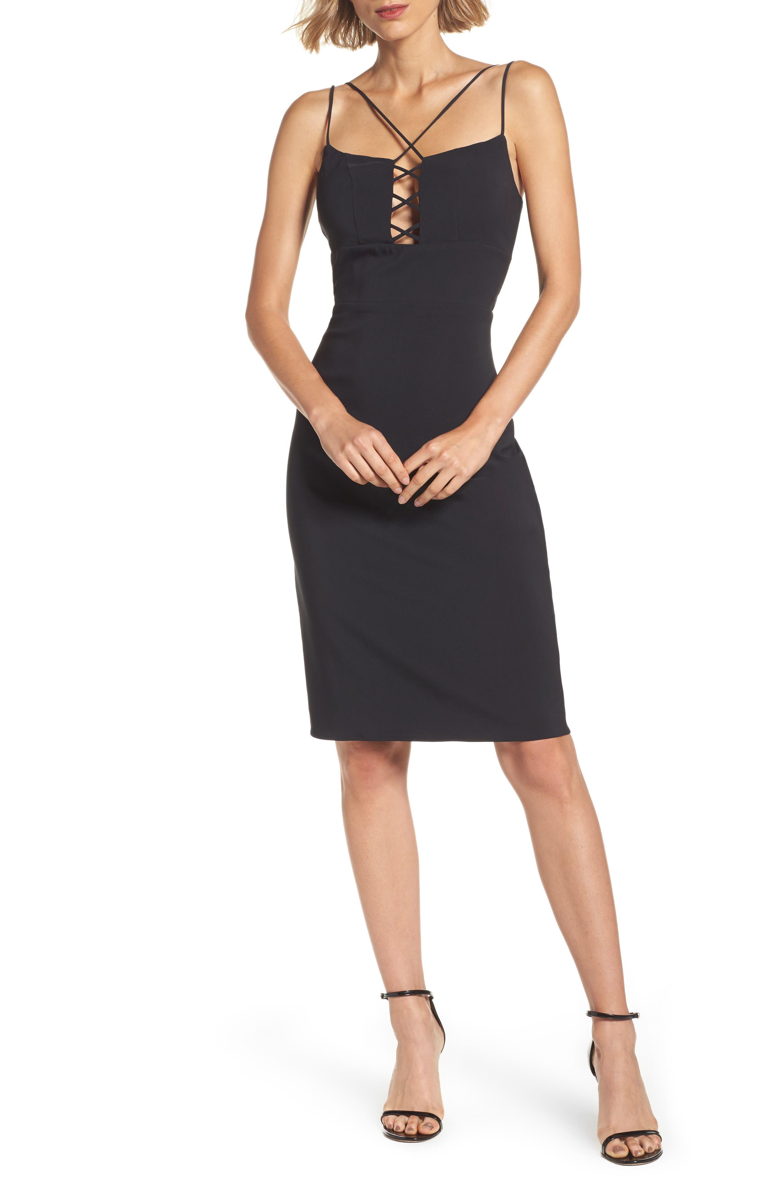 Lace Front Sheath Dress,                         Main,                         color, Black
