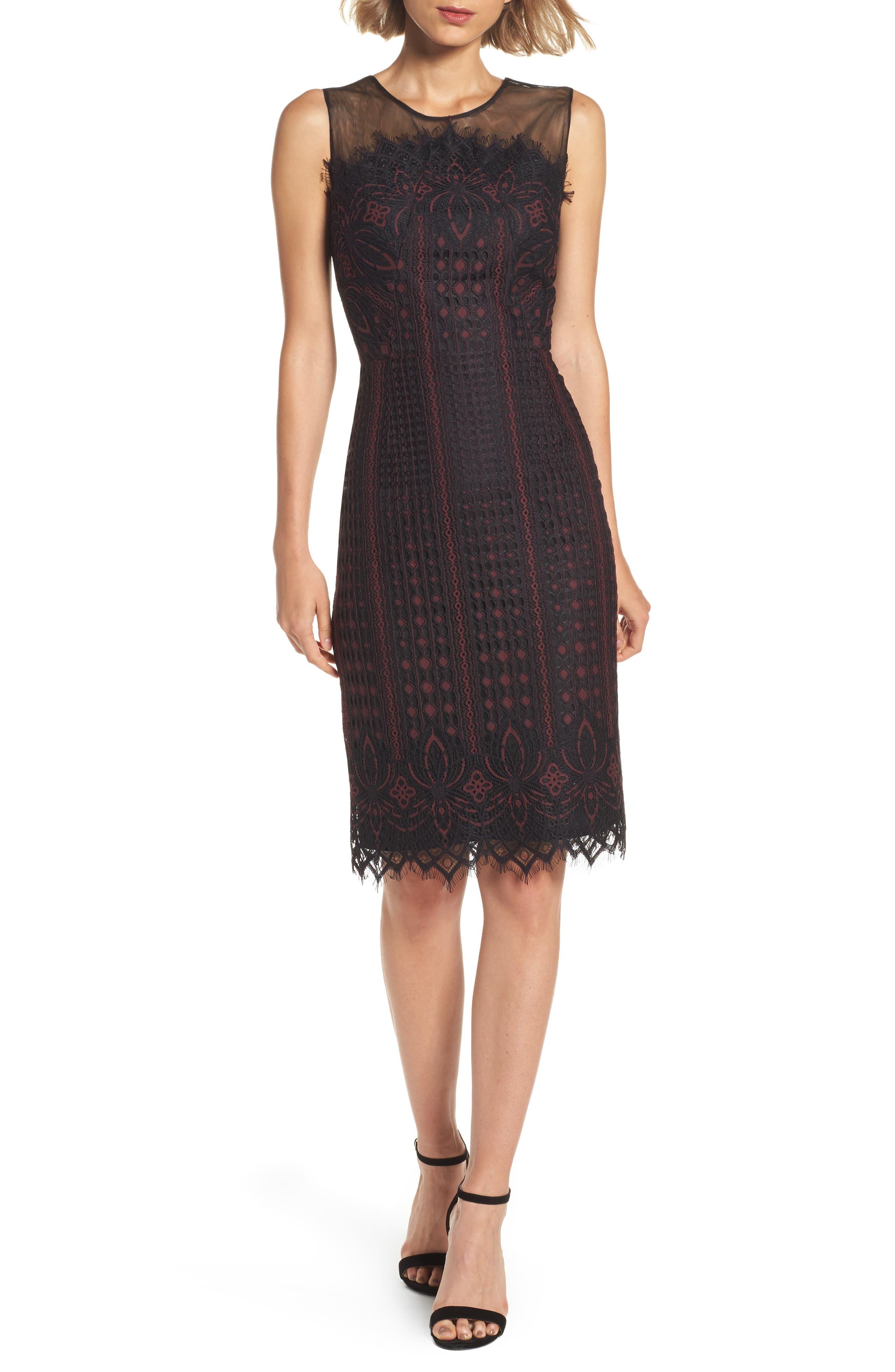 Etch Floral Sheath Dress,                         Main,                         color, Wine/ Black