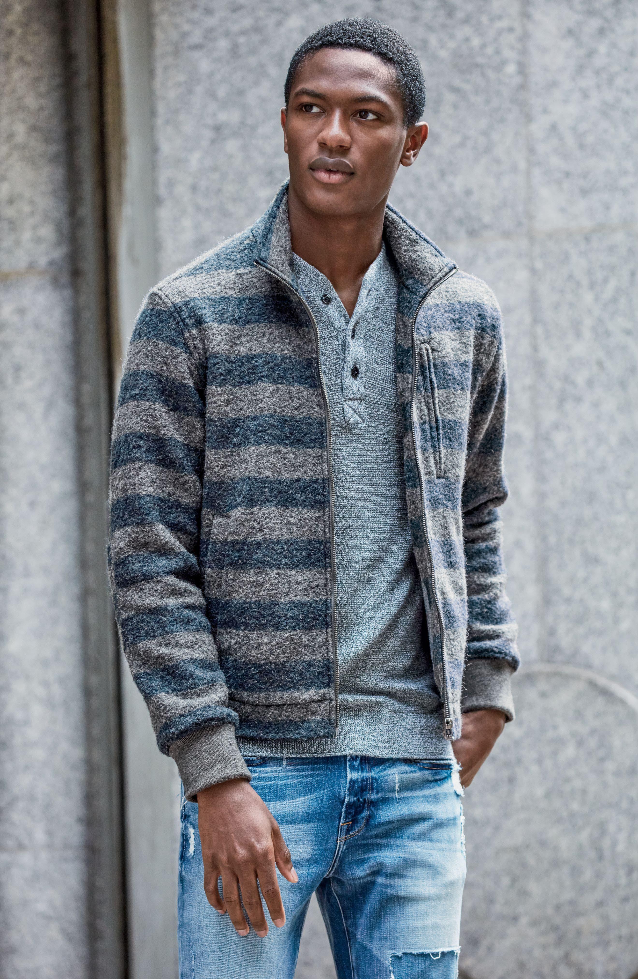 Bowen Stripe Zip Front Jacket,                             Alternate thumbnail 7, color,