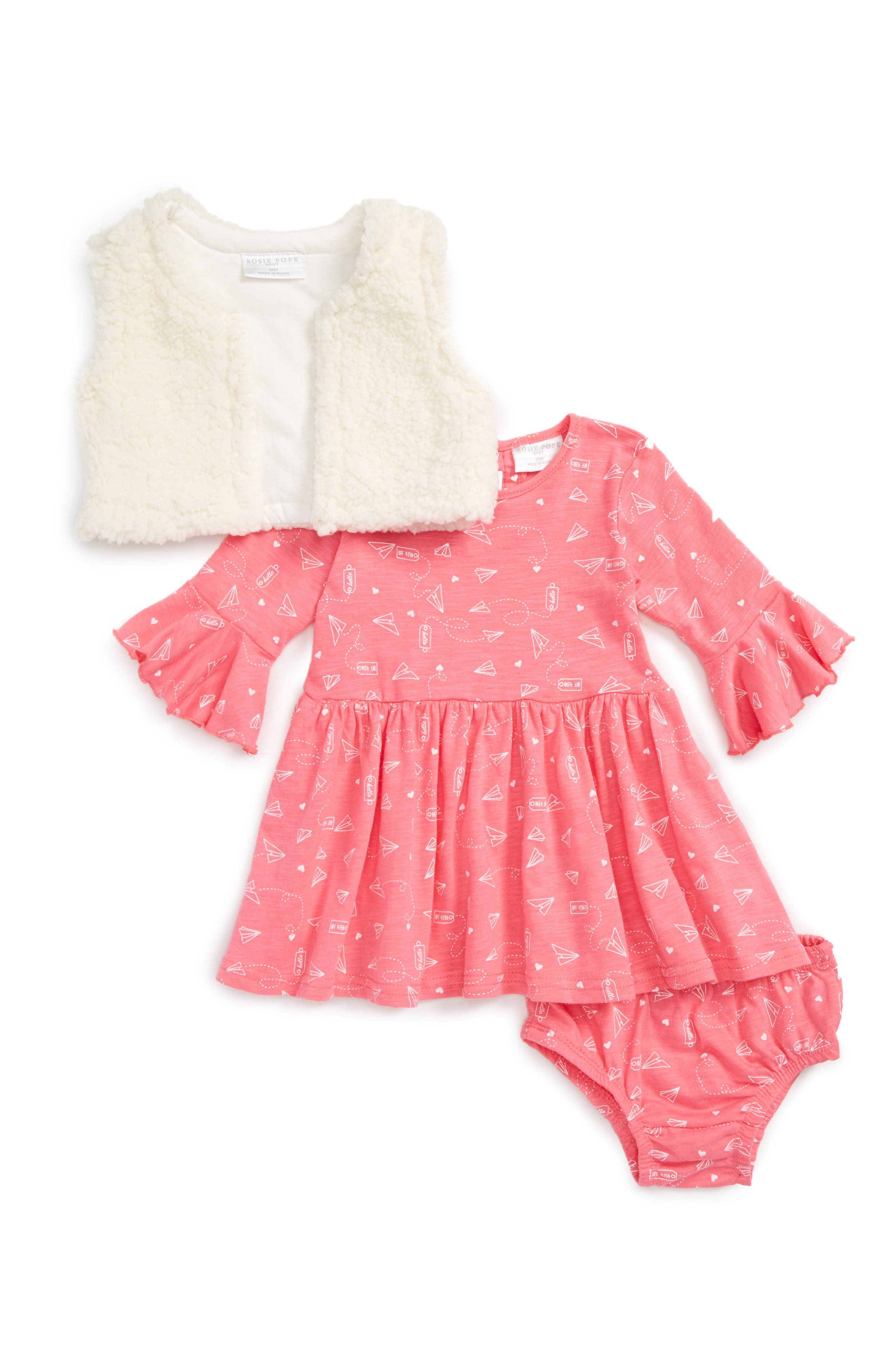 Main Image - Rosie Pope Airplane Notes Print Dress & Faux Fur Vest Set (Baby Girls)