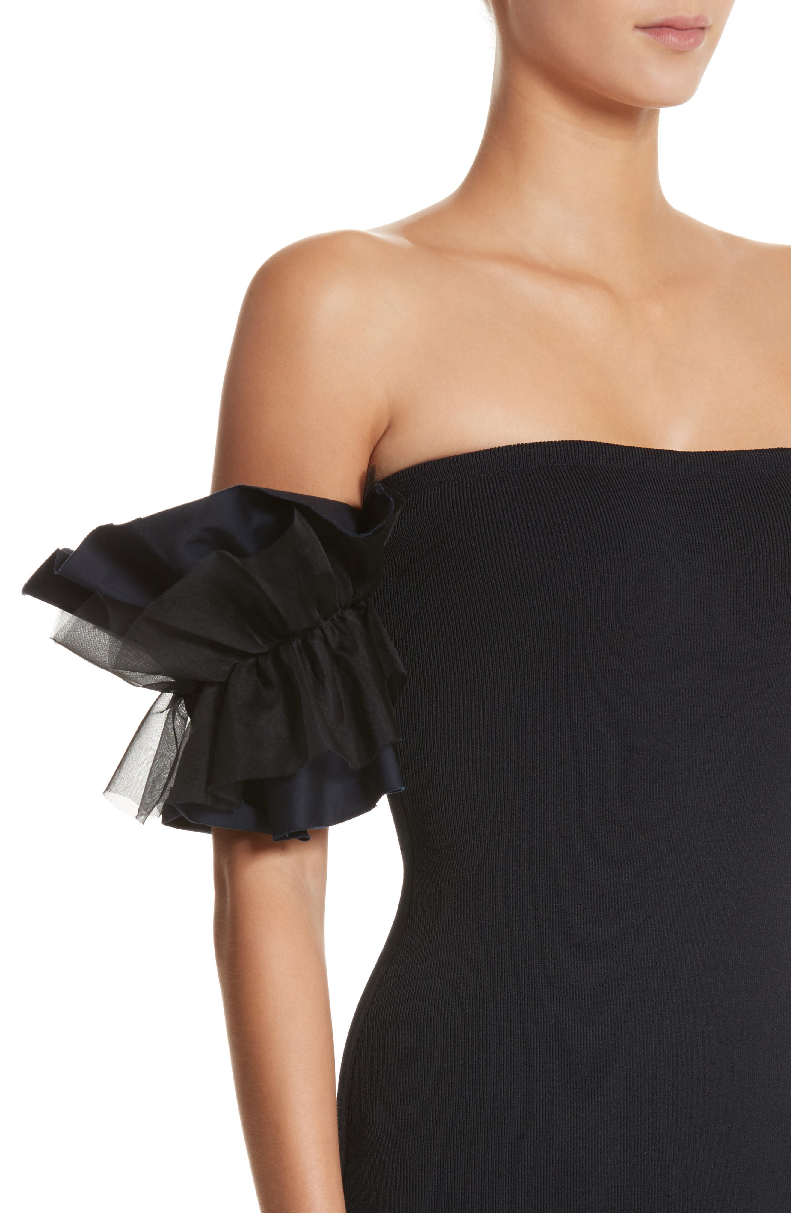 Ruffle Sleeve Off the Shoulder Dress,                             Alternate thumbnail 4, color,                             Midnight