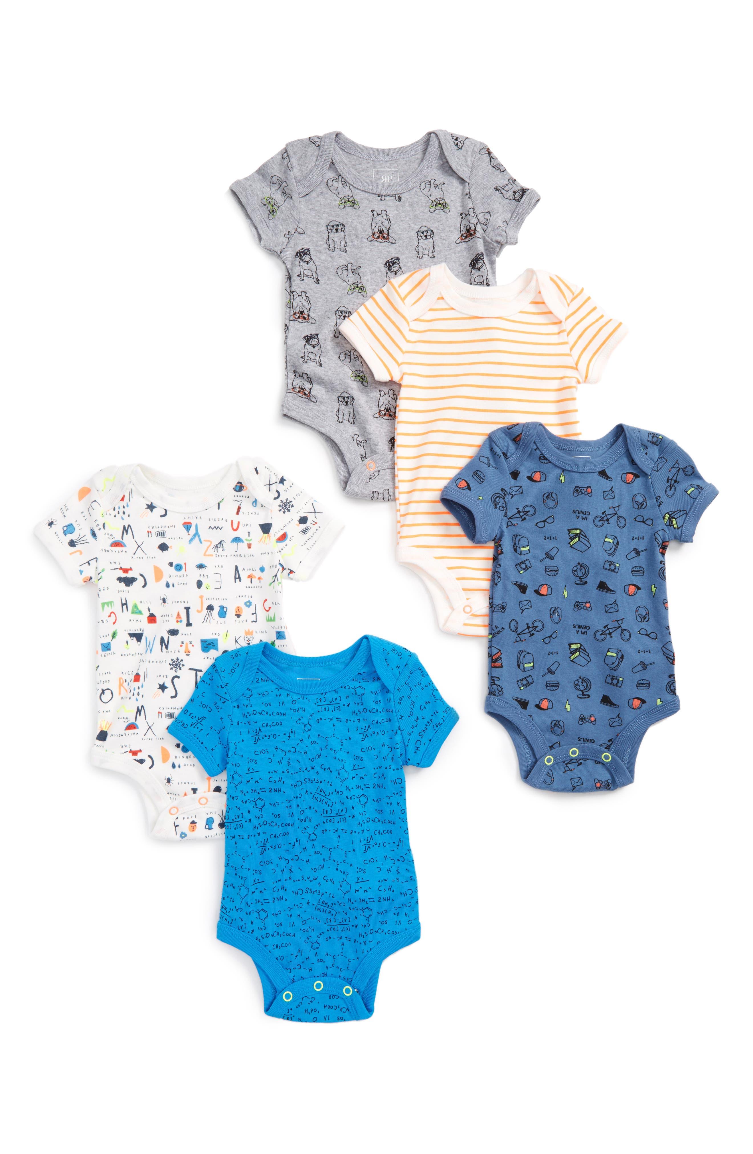 Main Image - Rosie Pope Nerd Alert 5-Pack Bodysuits (Baby Boys)