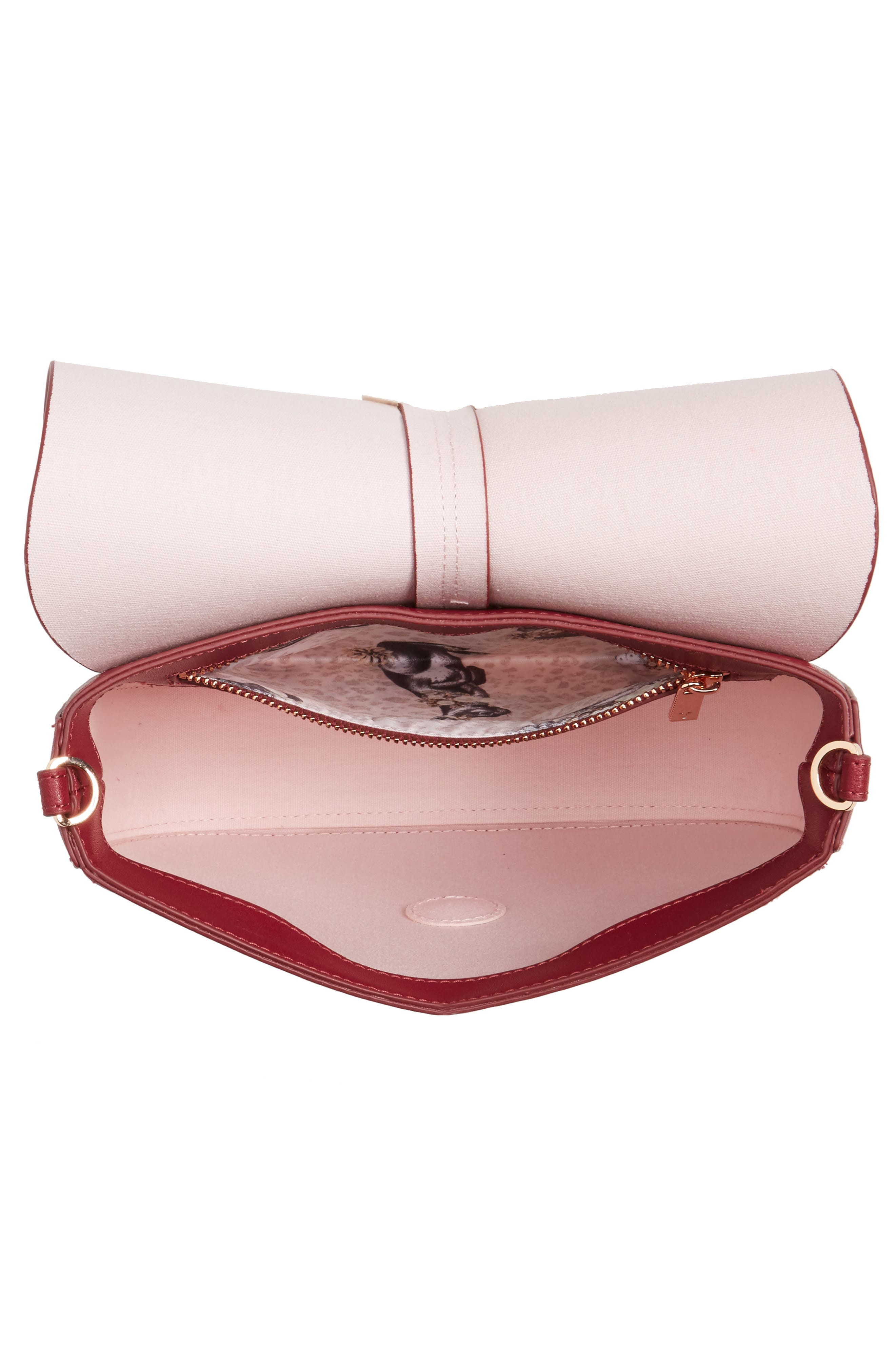 Kittii Cat Leather Crossbody Bag,                             Alternate thumbnail 4, color,                             Oxblood