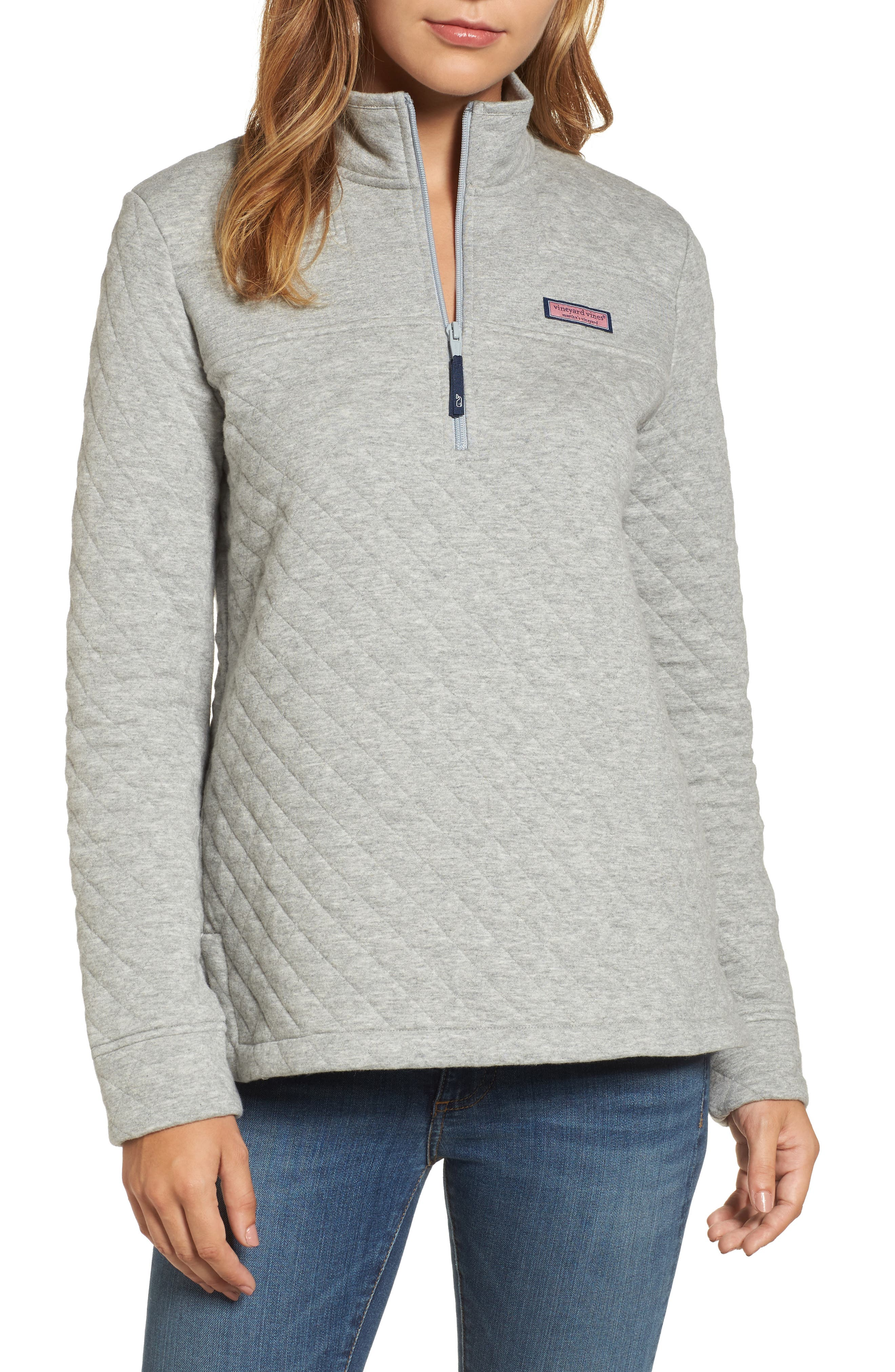 Shep Quilted Quarter Zip Pullover,                             Main thumbnail 1, color,                             Silver Fox