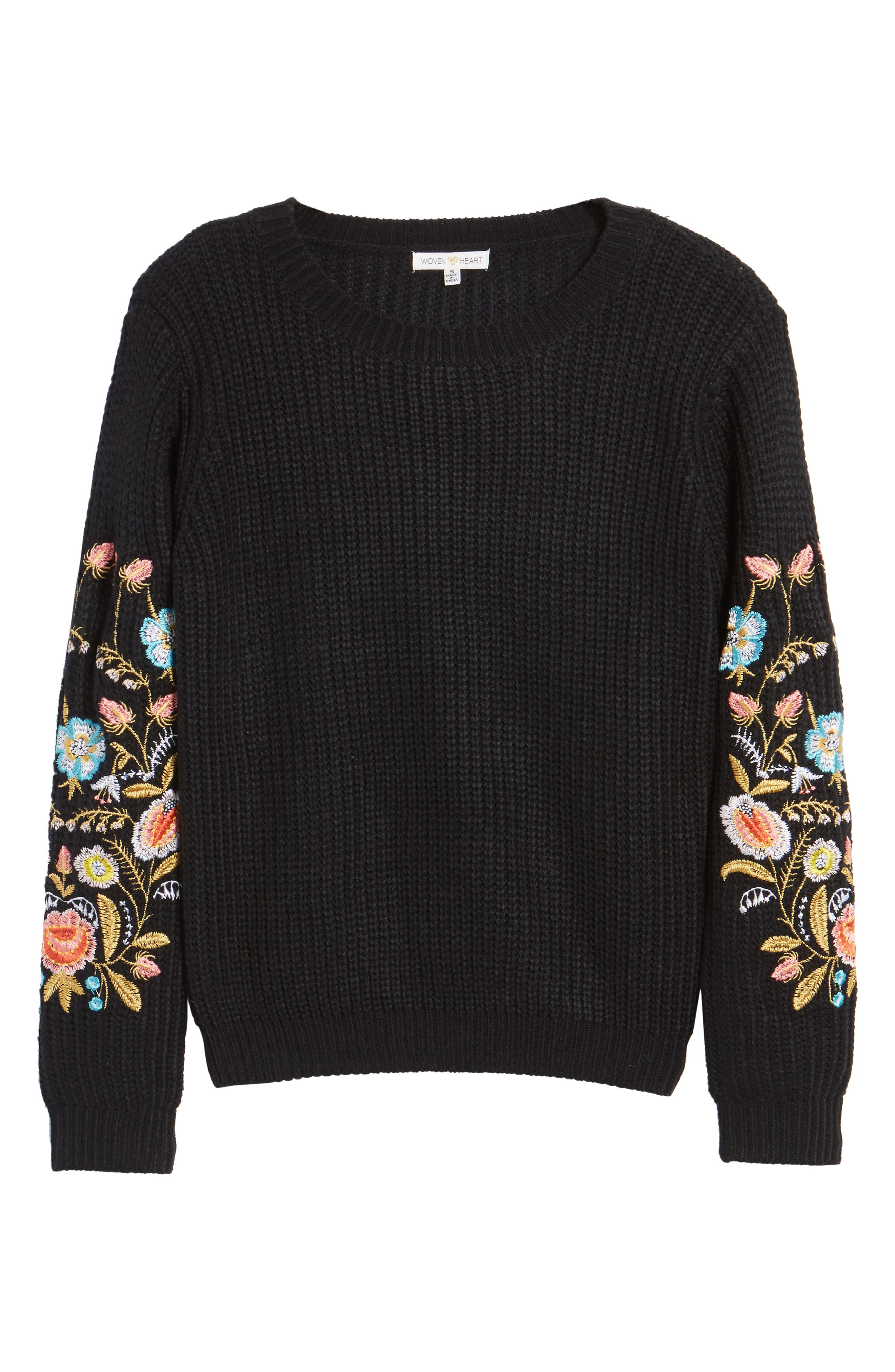 Embroidered Waffle Stitch Sweater,                             Alternate thumbnail 6, color,                             Black