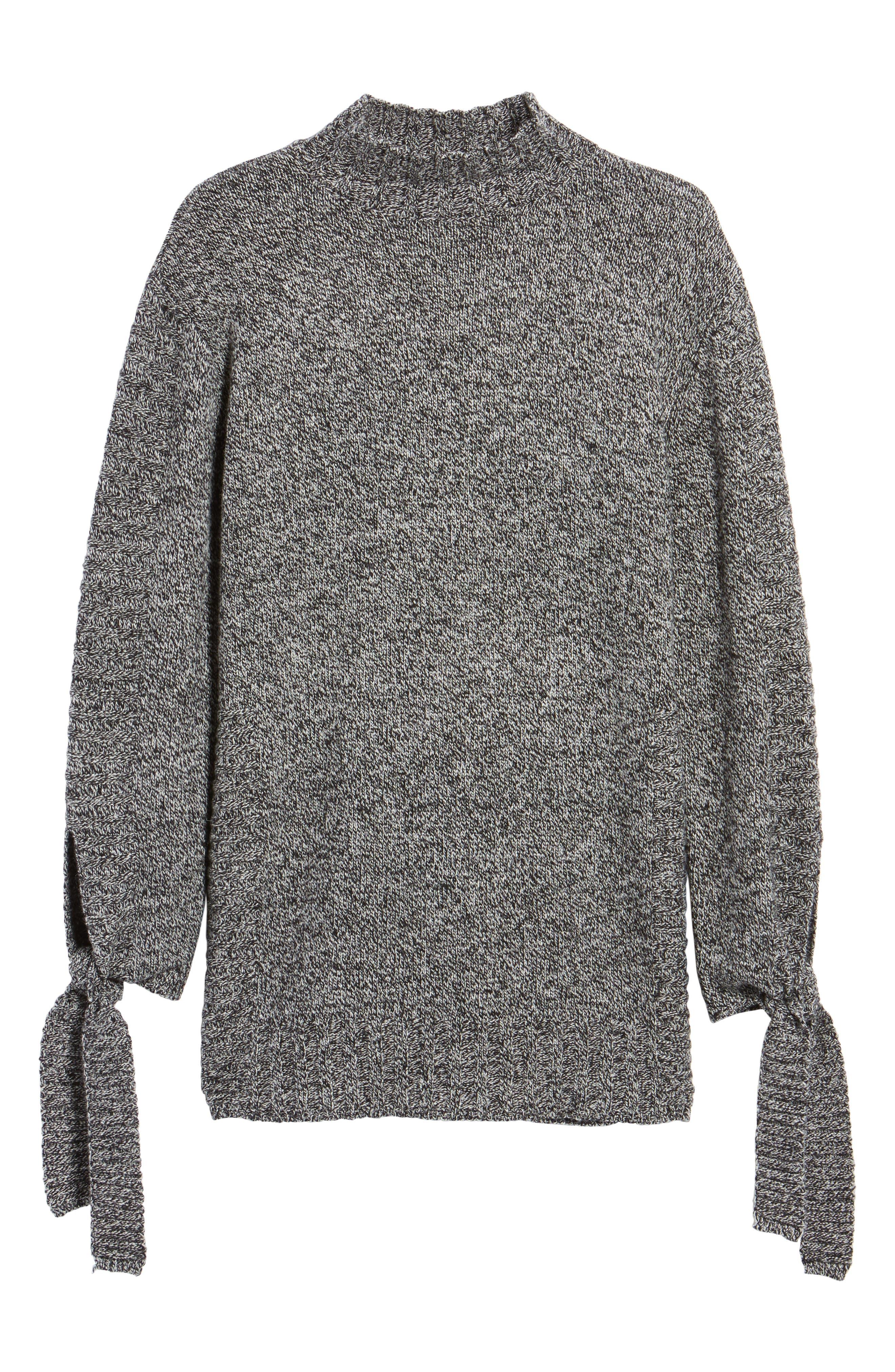Side Slit Sweater,                             Alternate thumbnail 6, color,                             Charcoal