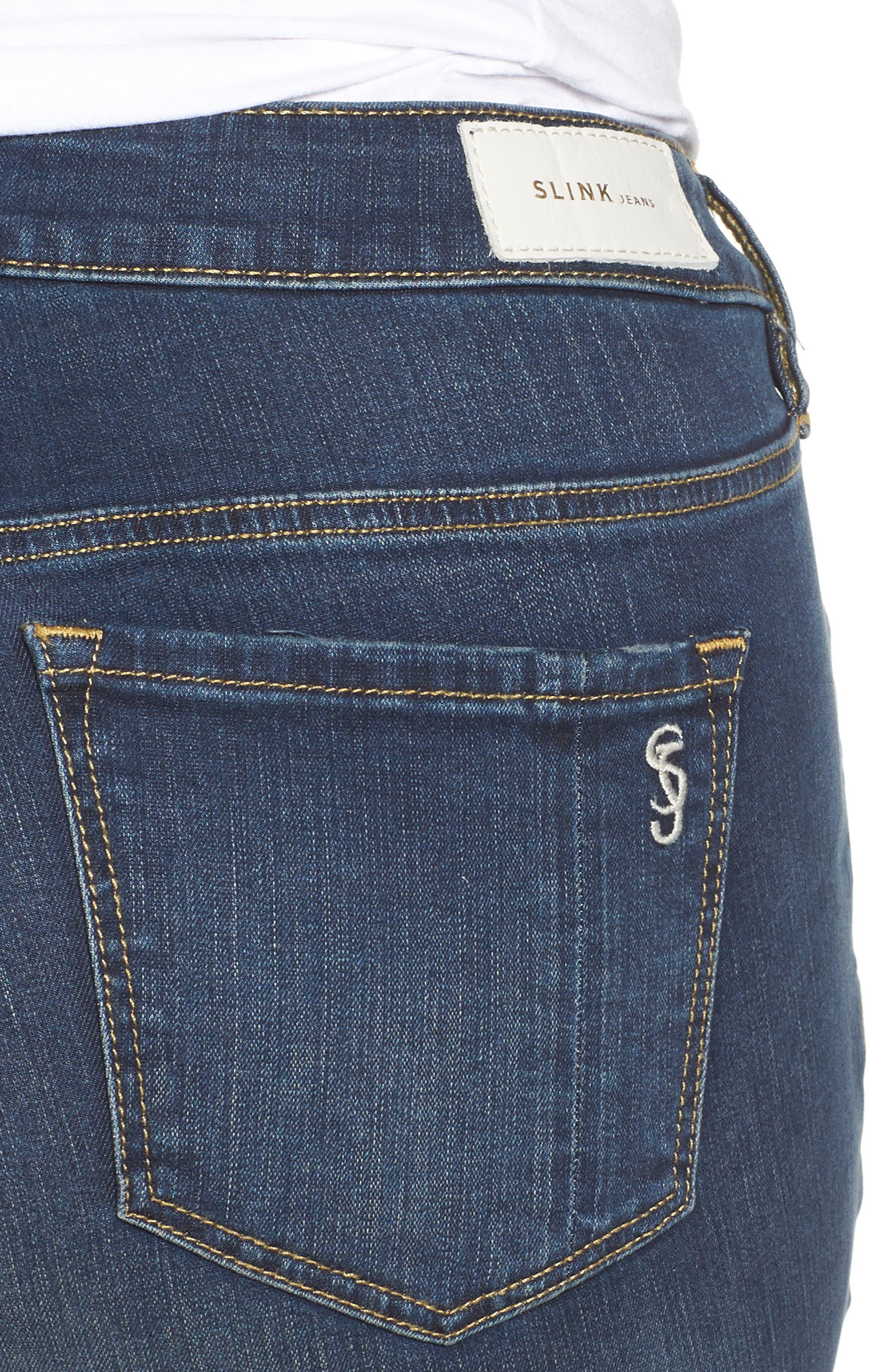 Alternate Image 4  - SLINK Jeans Step Hem Skinny Jeans (Danielle) (Plus Size)