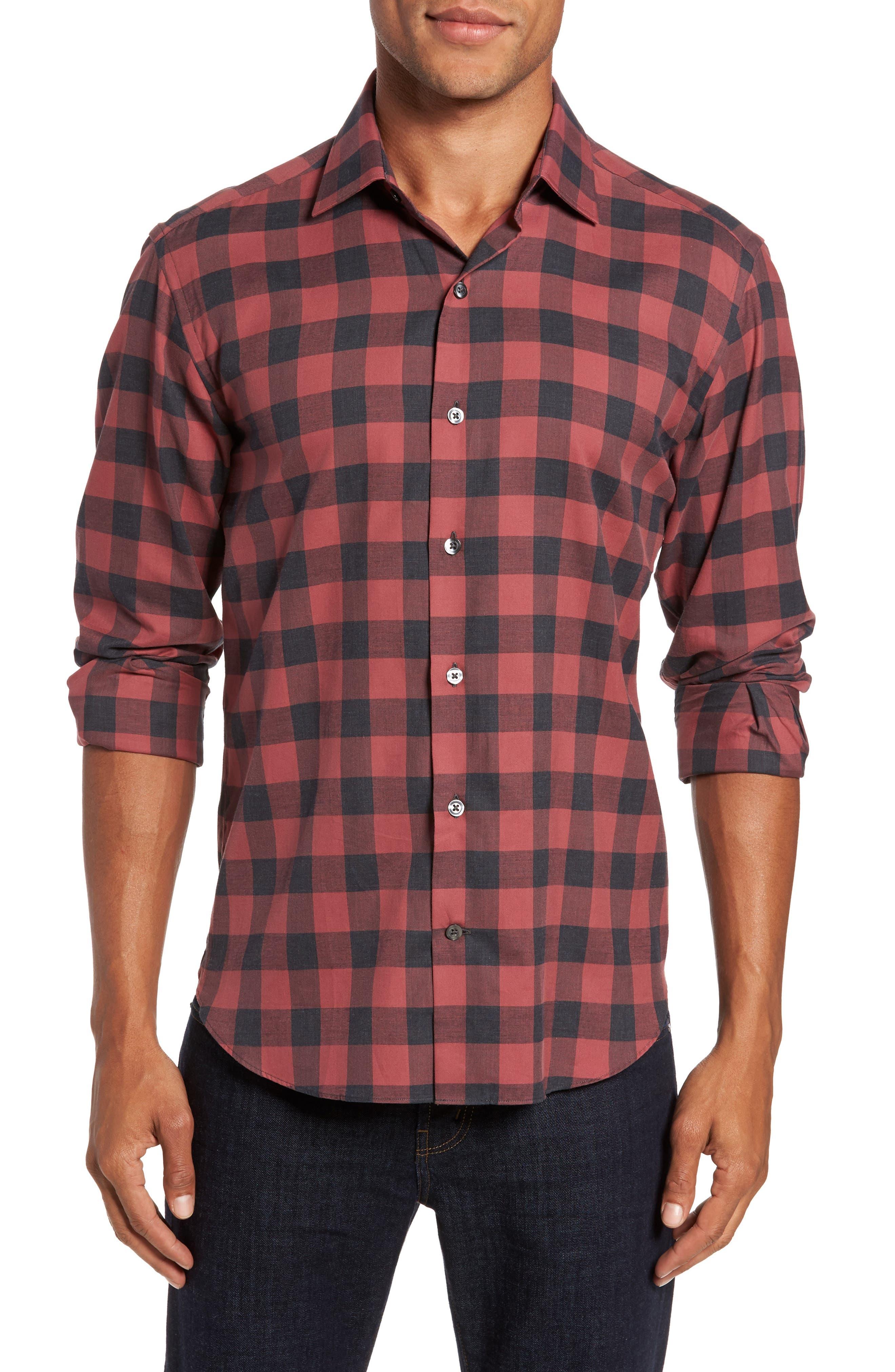 Slim Fit Buffalo Check Sport Shirt,                         Main,                         color, Terracotta