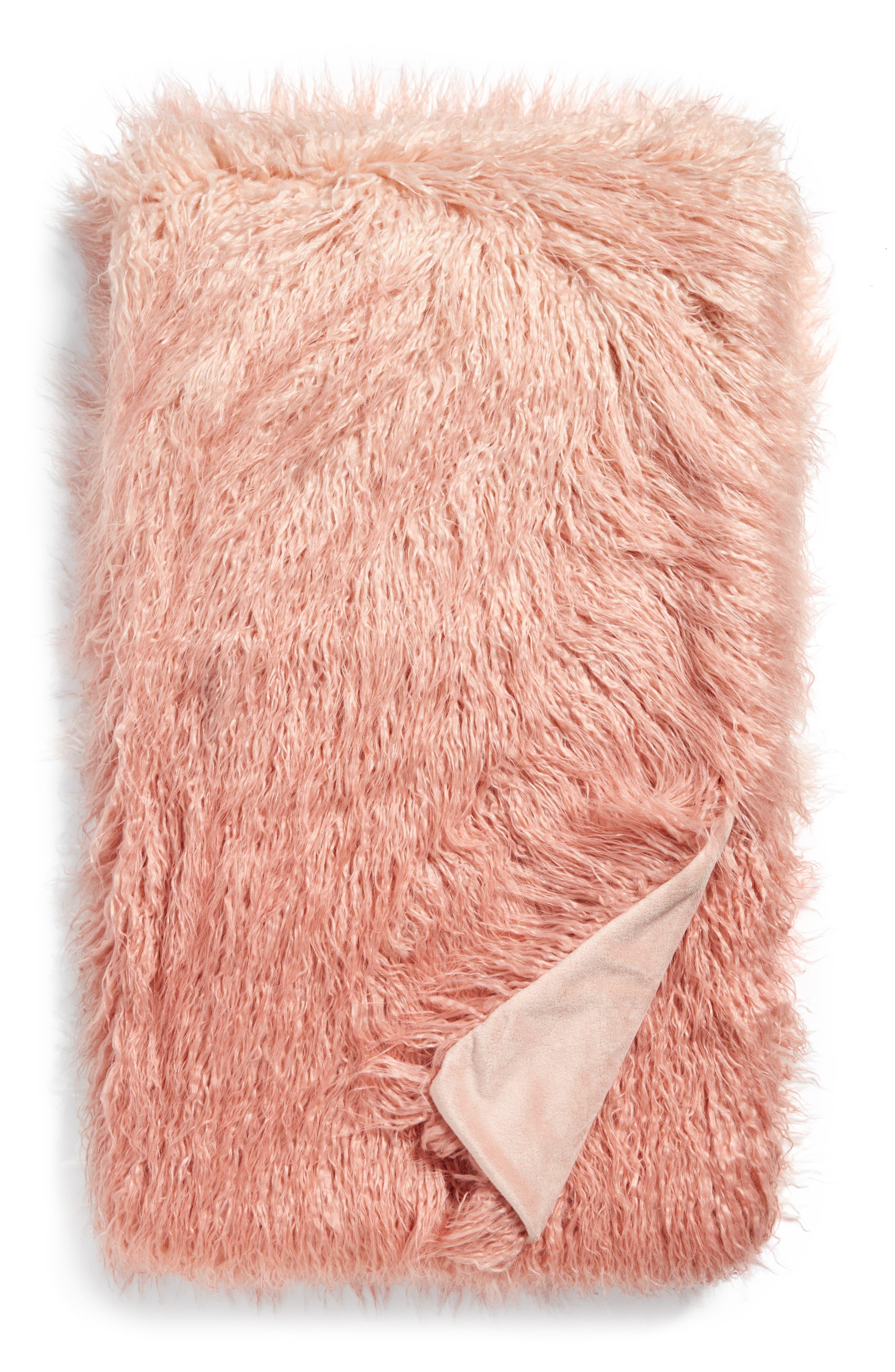 Nordstrom 'Ombré Flokati' Throw,                         Main,                         color, Pink Hero