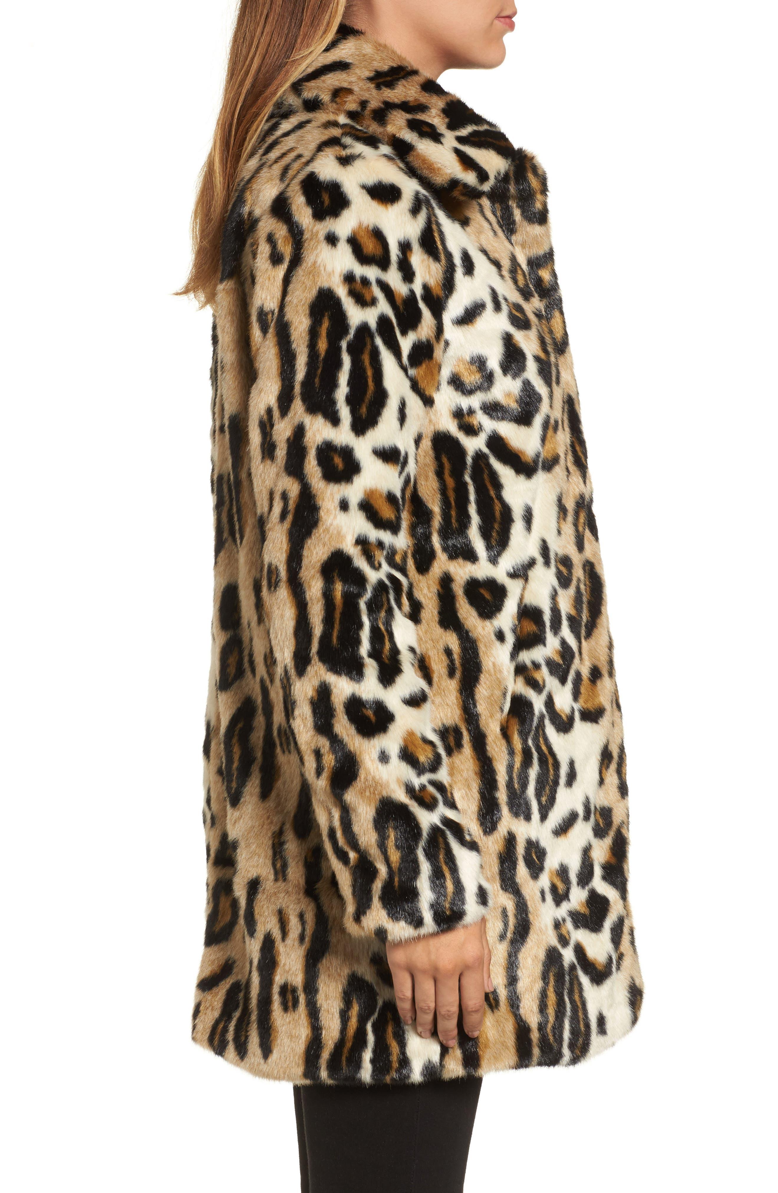 Leopard Spot Reversible Faux Fur Coat,                             Alternate thumbnail 3, color,                             Leopard