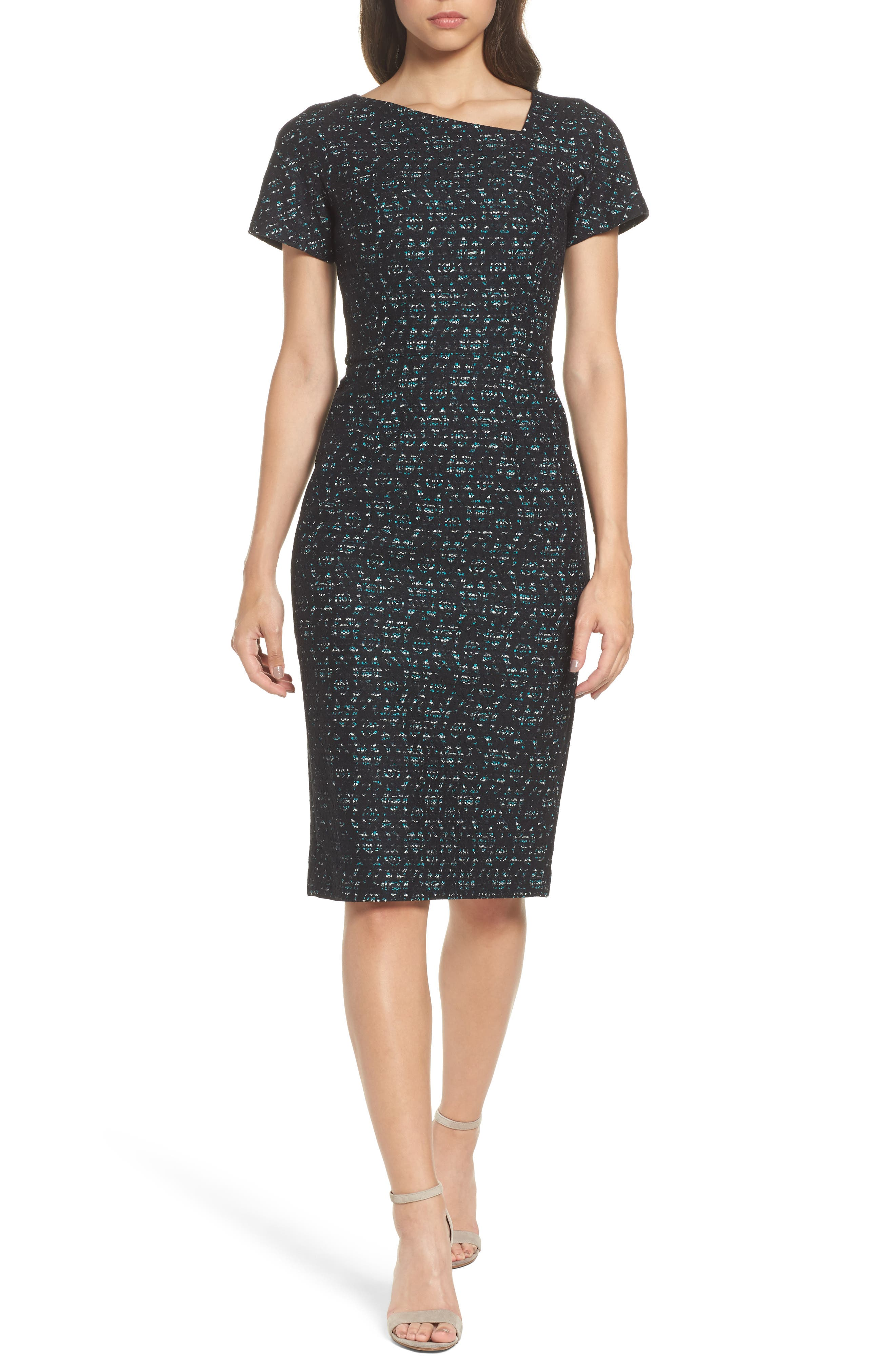 Bonded Lace Sheath Dress,                         Main,                         color, Black Multi