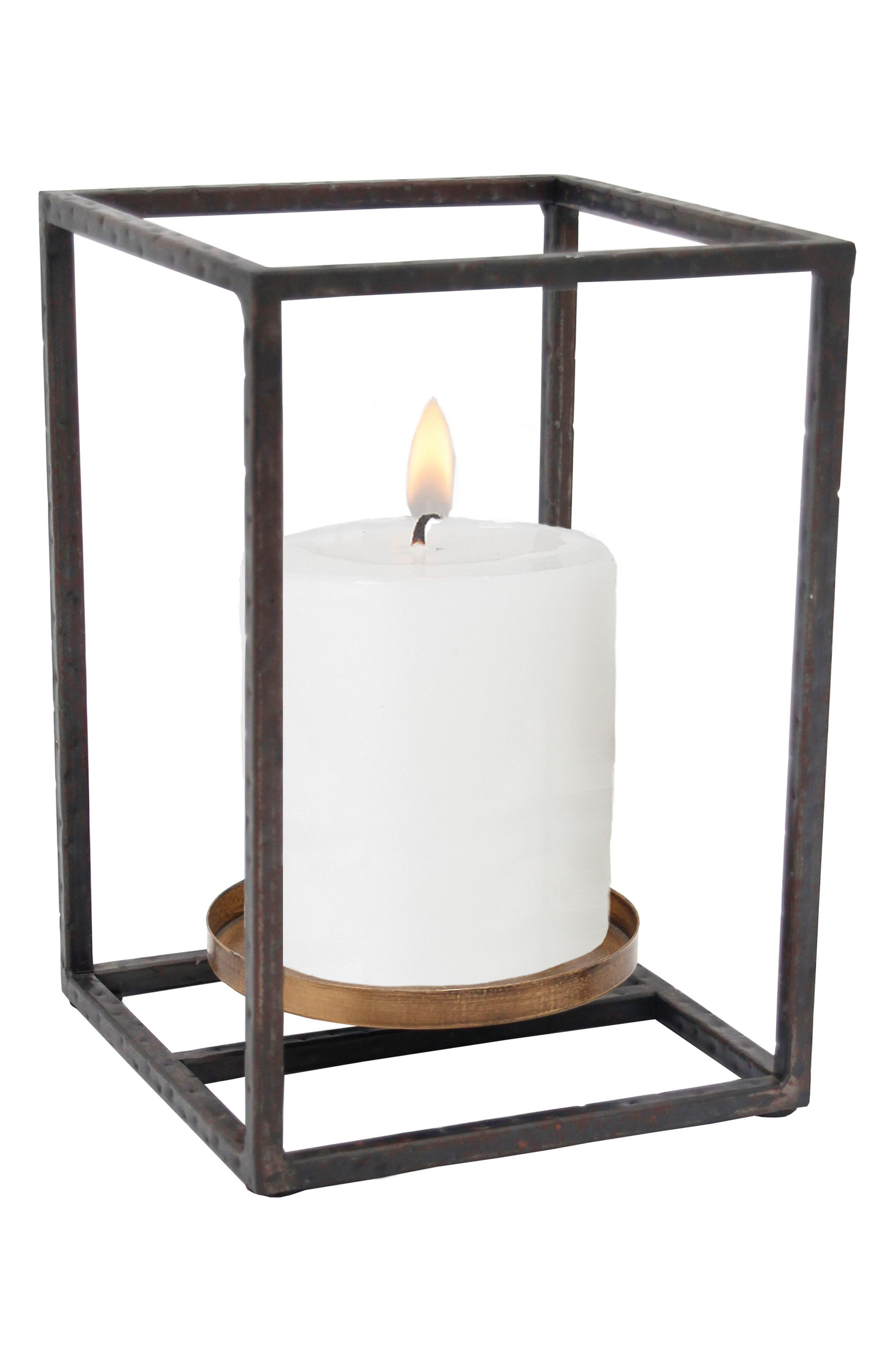 Small Cube Pillar Candle Holder,                         Main,                         color, Metal