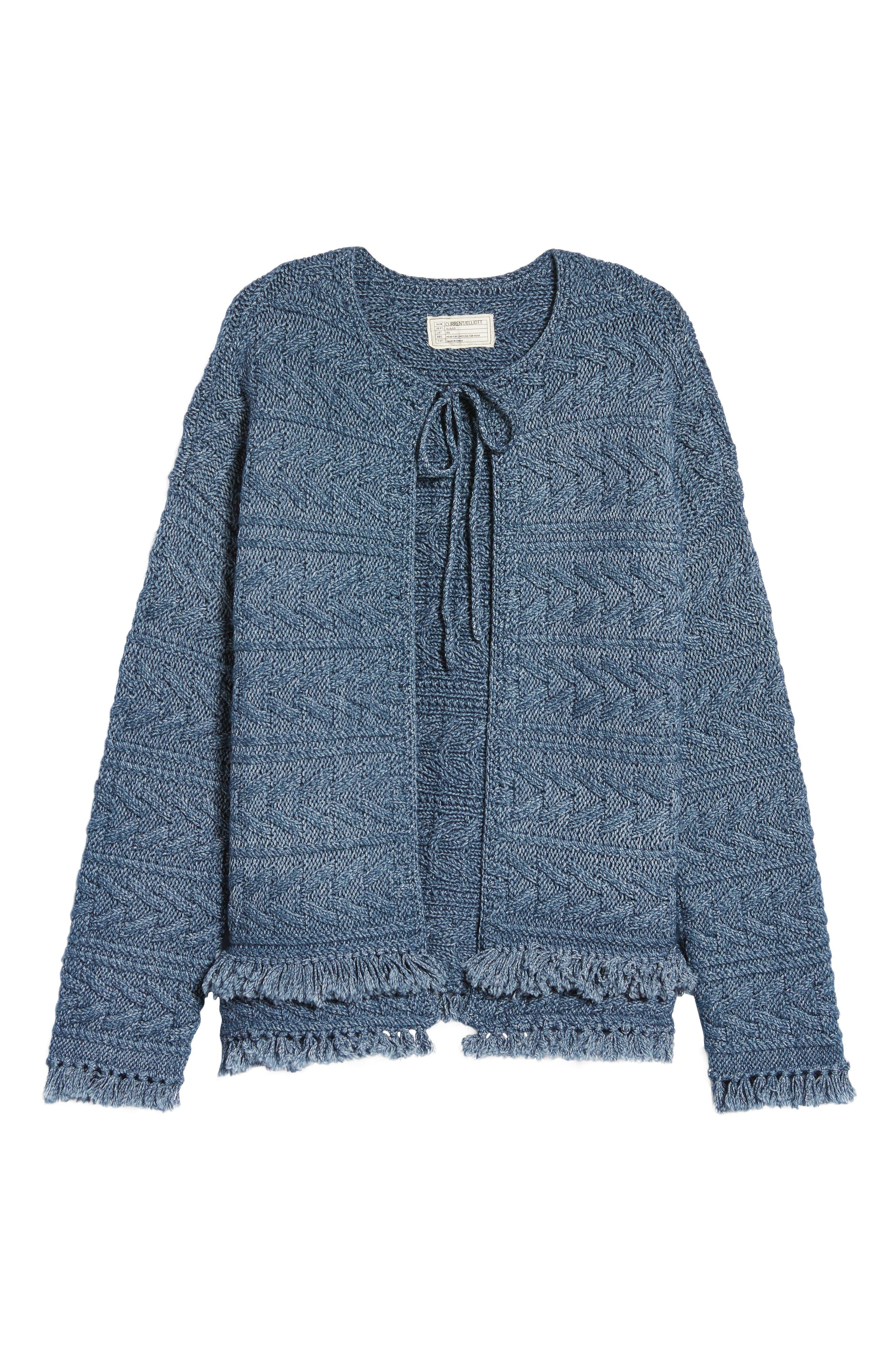 The Cable Fringe Sweater,                             Alternate thumbnail 6, color,                             Indigo