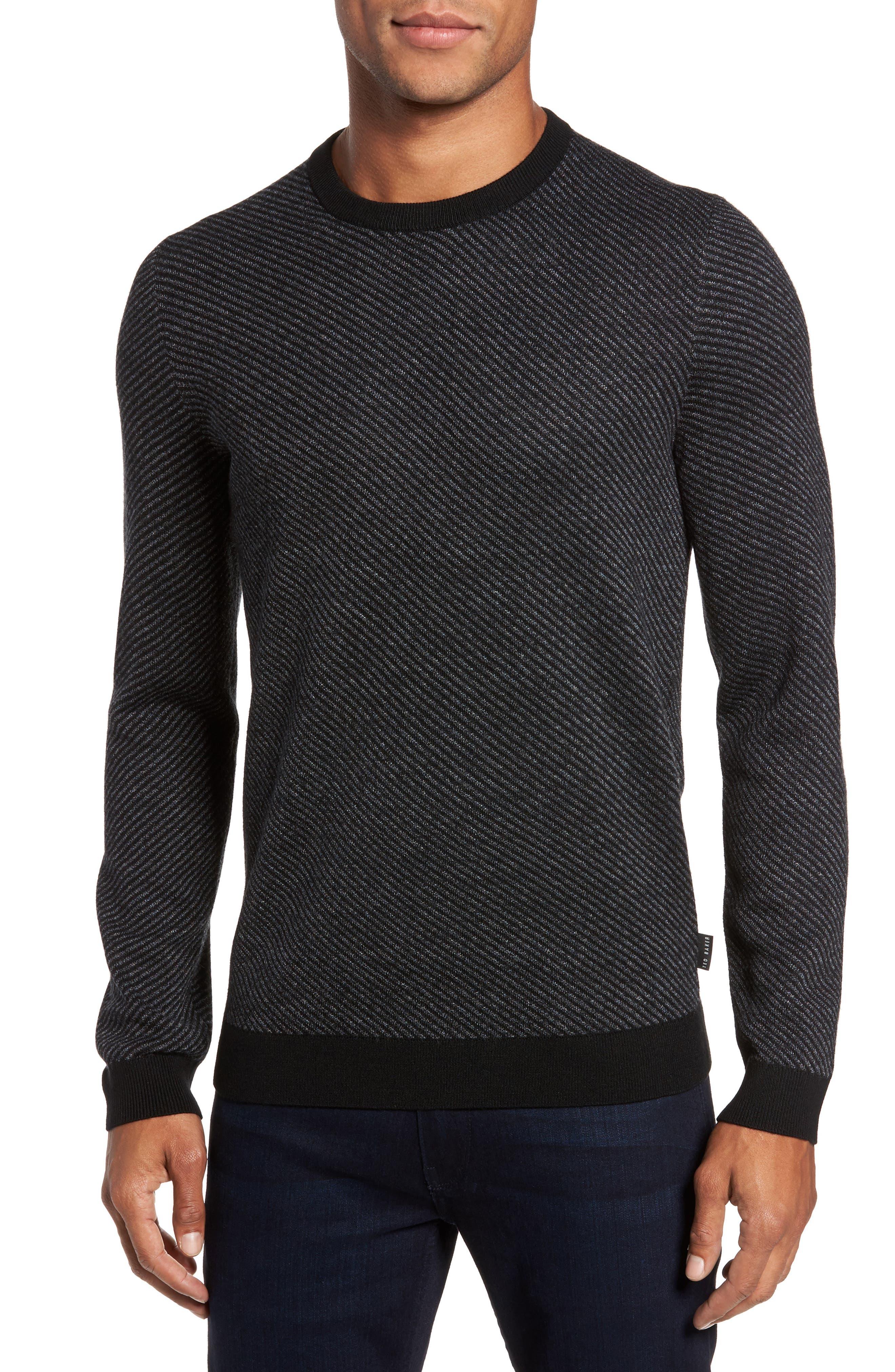 Cinamon Interest Stitch Crewneck Sweater,                         Main,                         color, Black