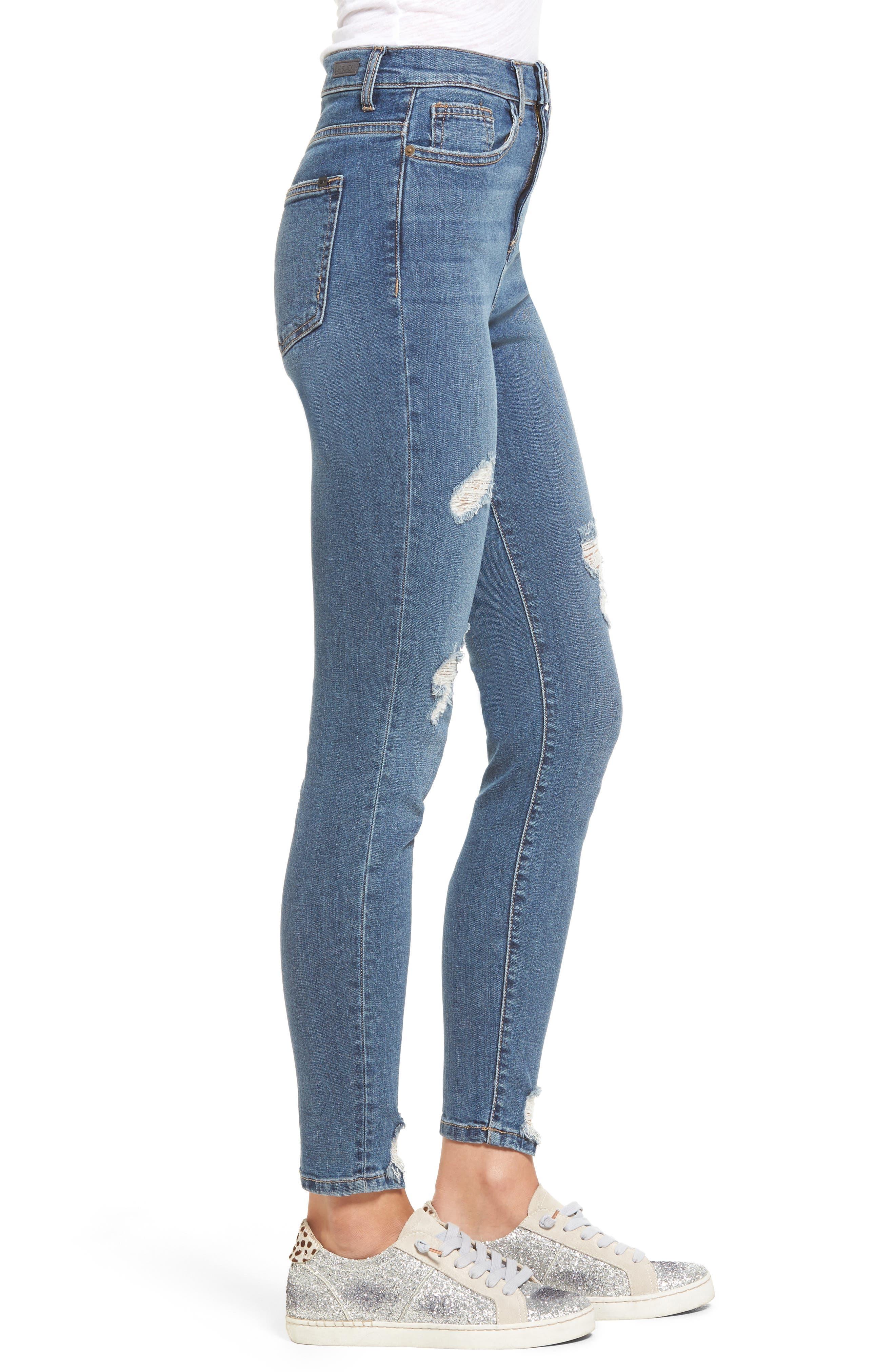 High Waist Step Hem Skinny Jeans,                             Alternate thumbnail 3, color,                             Medium