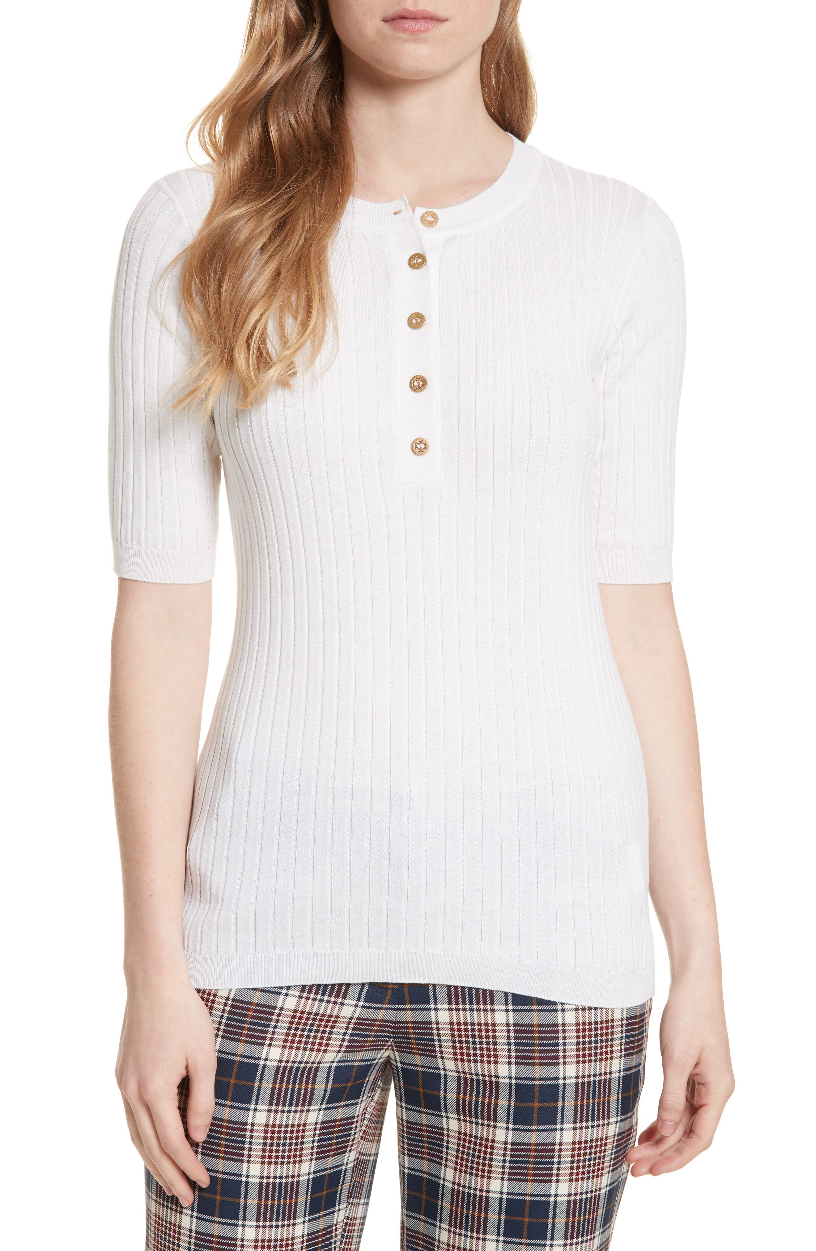 TORY BURCH Ribbed Cotton & Cashmere Henley