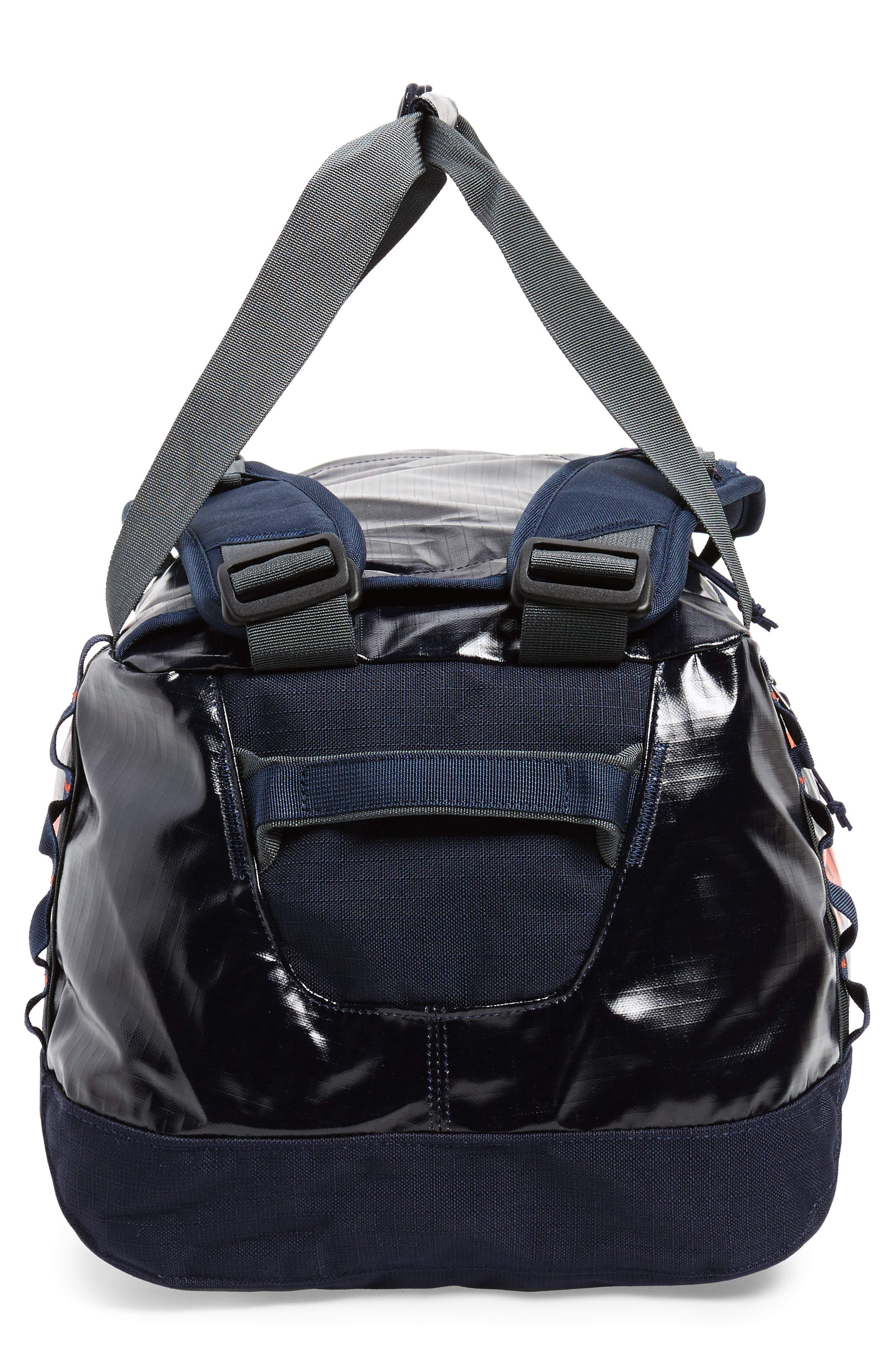 Black Hole Water Repellent Duffel Bag,                             Alternate thumbnail 4, color,                             Navy Blue W/ Paintbrush Red
