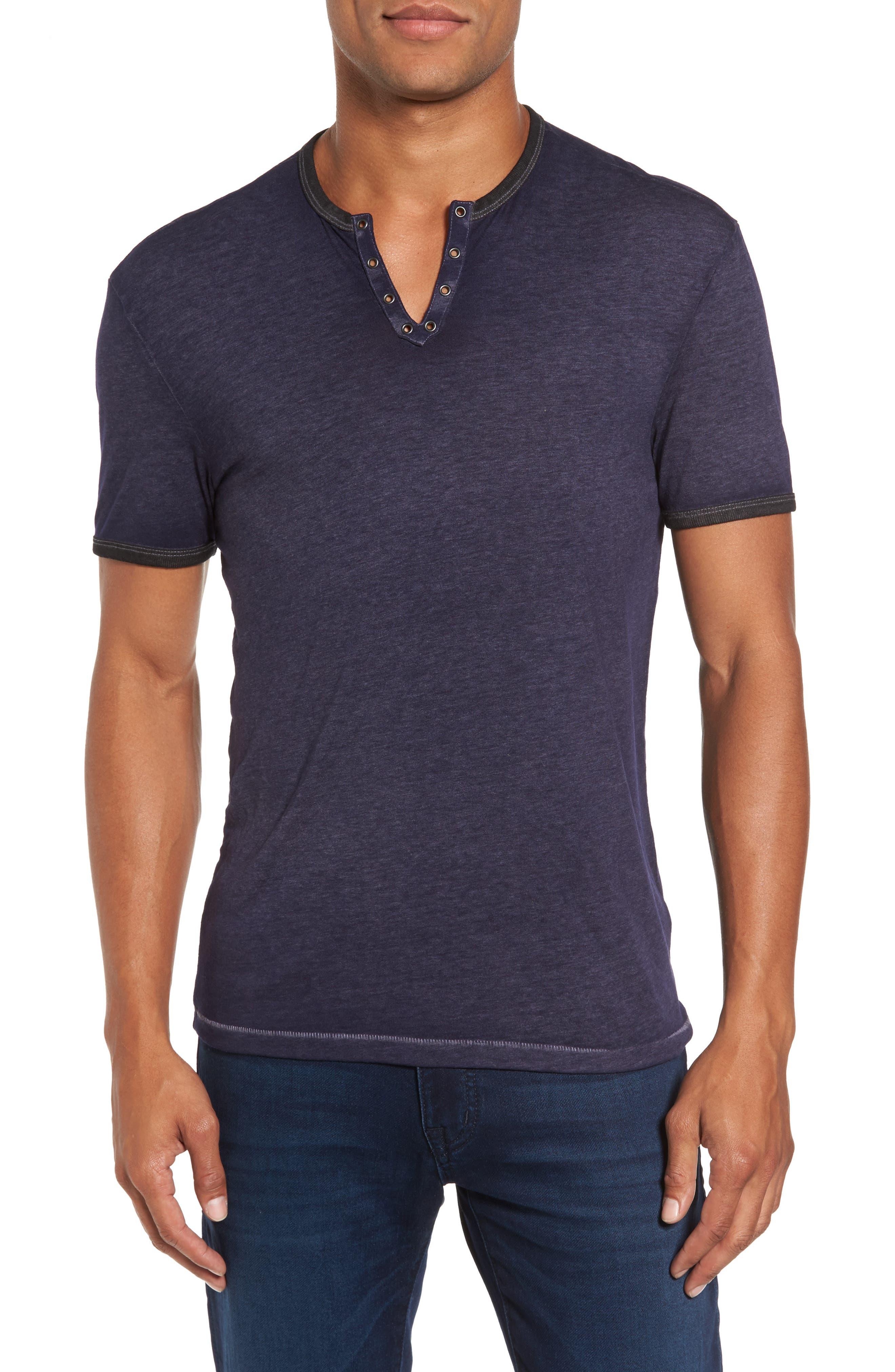 John Varvatos Eyelet Henley T-Shirt,                         Main,                         color, Regal Blue